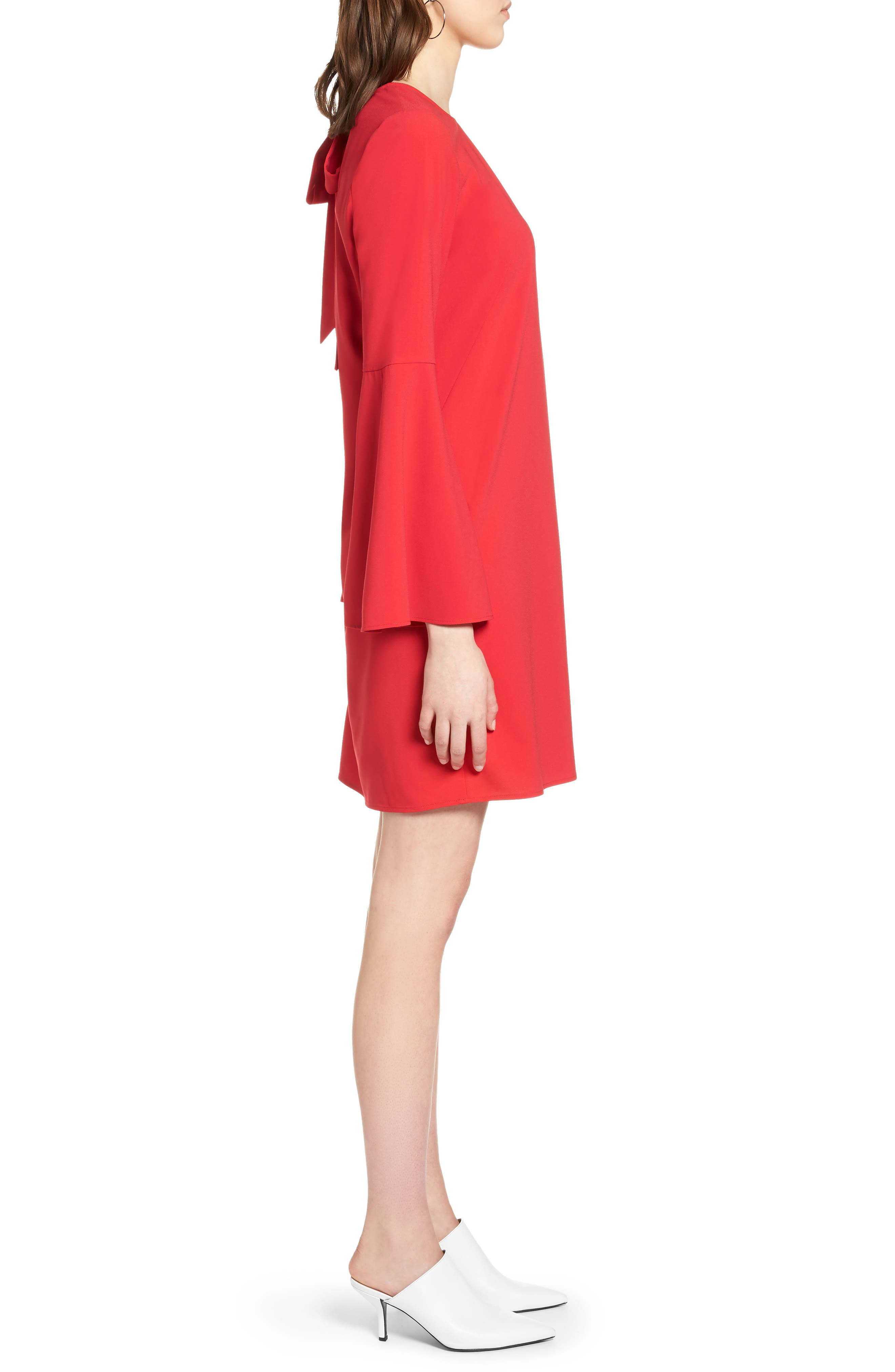 Bow Back Flare Sleeve Dress,                             Alternate thumbnail 3, color,                             Red Lipstick