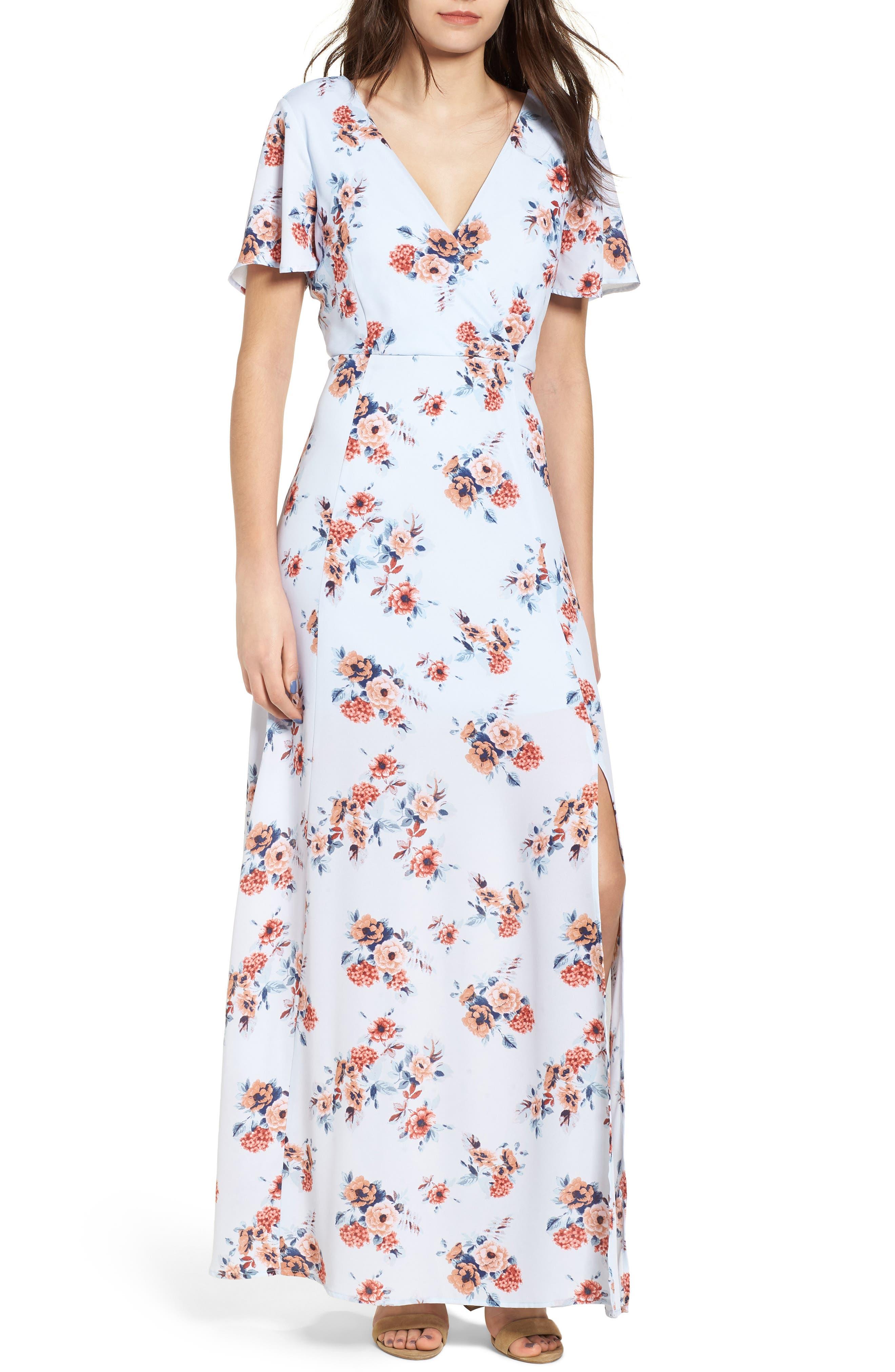 Floral Maxi Dress,                         Main,                         color, Light Blue Floral