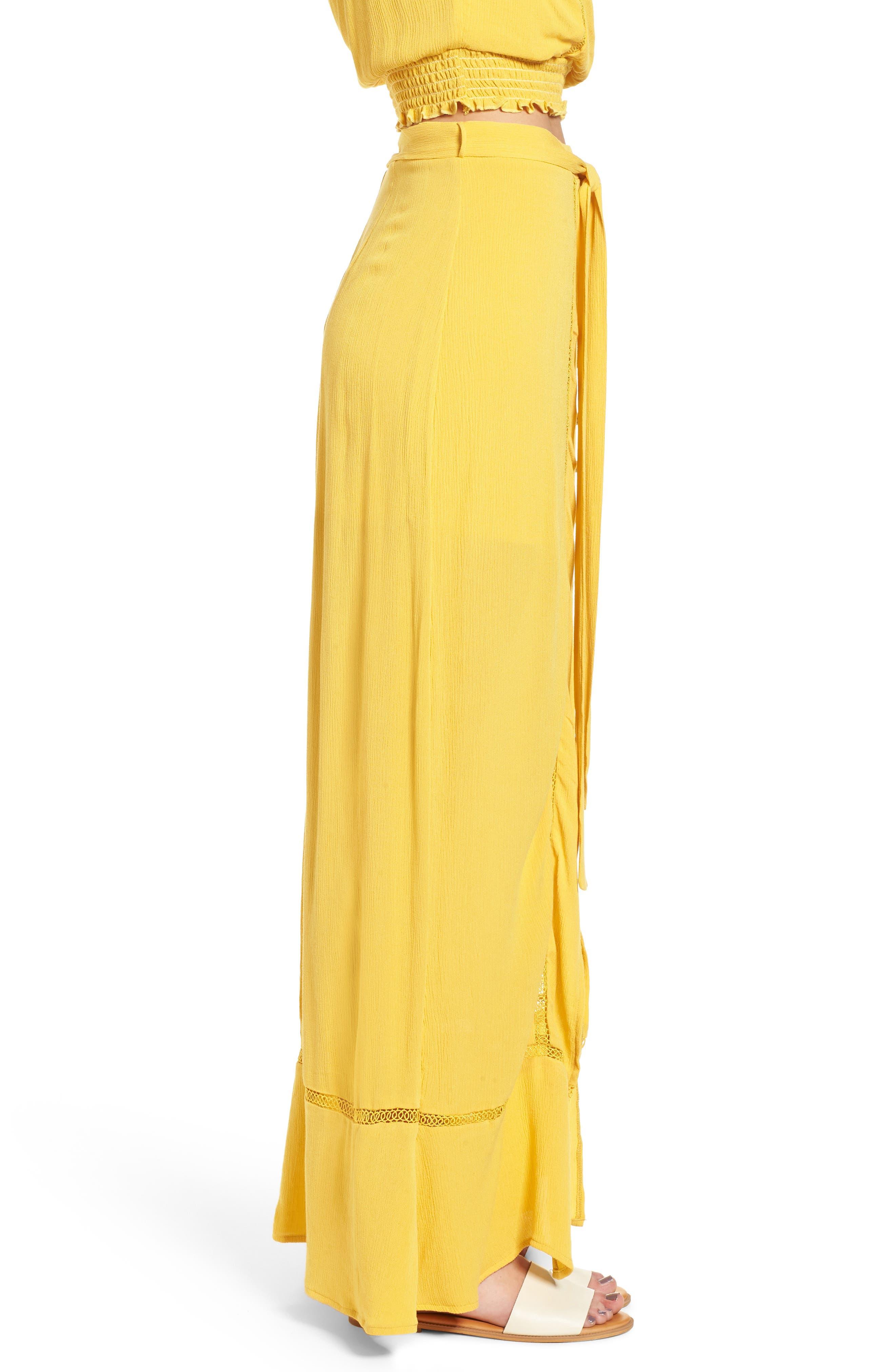 Slit Front Crochet Inset Maxi Skirt,                             Alternate thumbnail 4, color,                             Yellow Sulphur