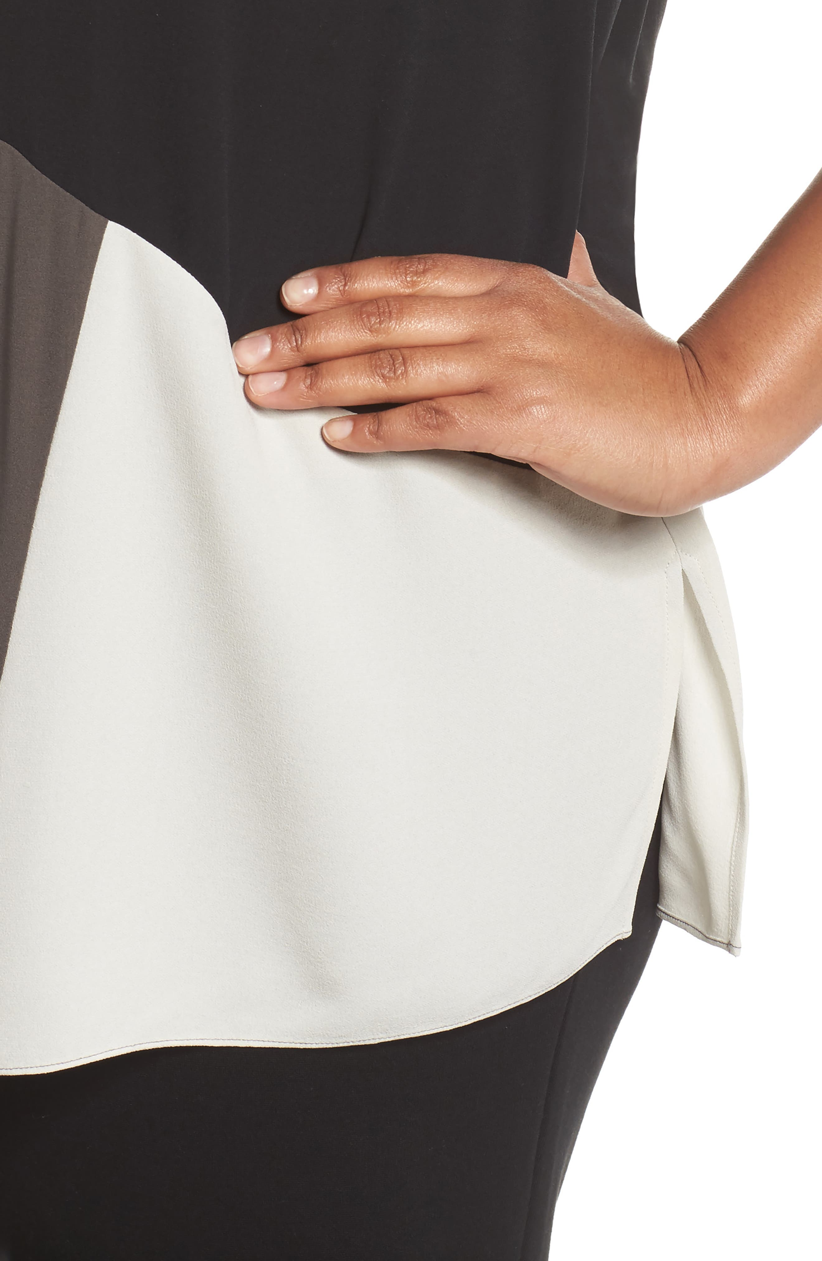 Alternate Image 4  - Eileen Fisher Colorblock Silk Top (Plus Size)