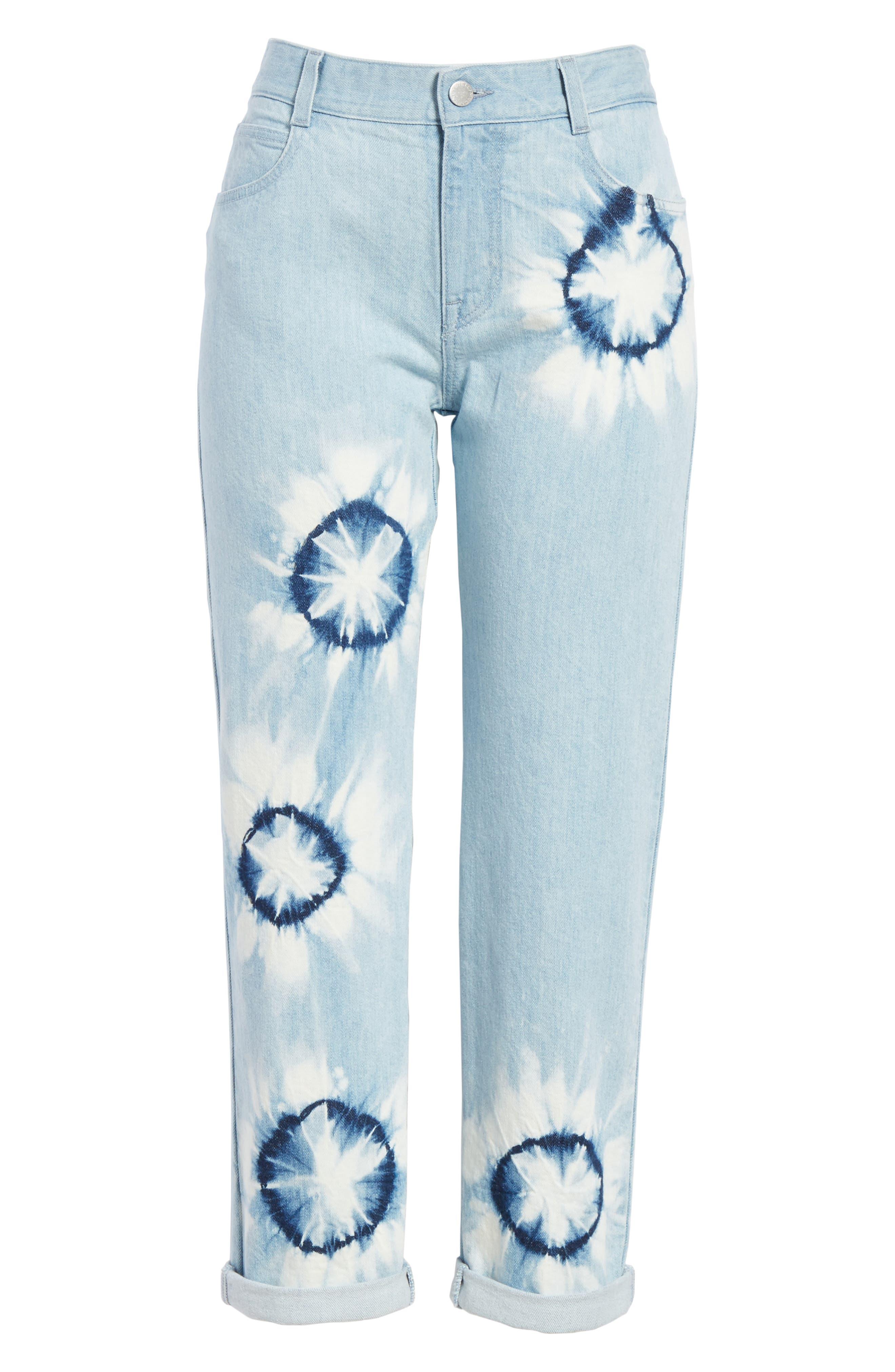 Tie Dye Boyfriend Jeans,                             Alternate thumbnail 7, color,                             Light Blue