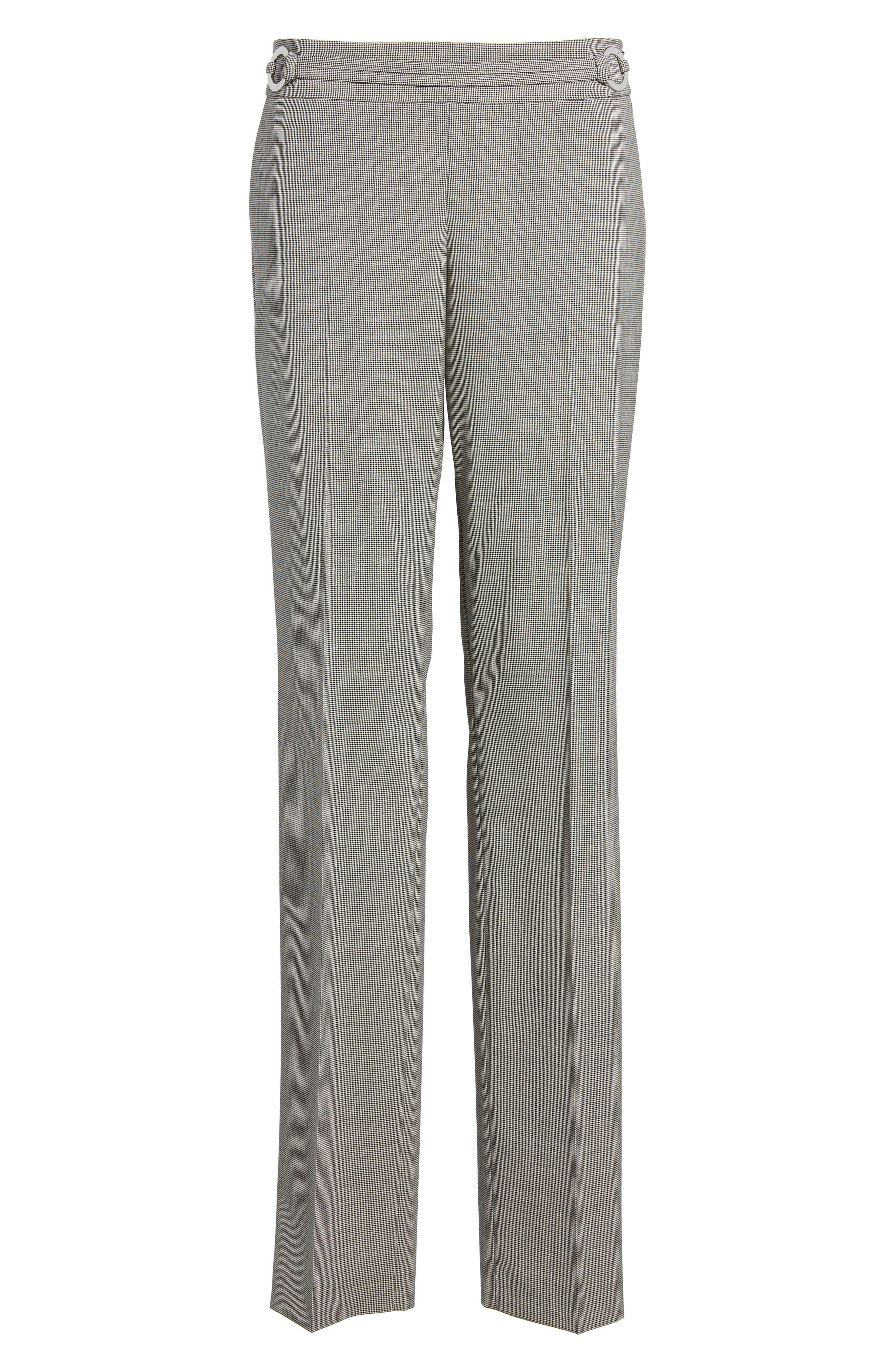Tavilla Ring Belt Straight Leg Wool Suit Pants,                             Alternate thumbnail 4, color,                             Black Fantasy