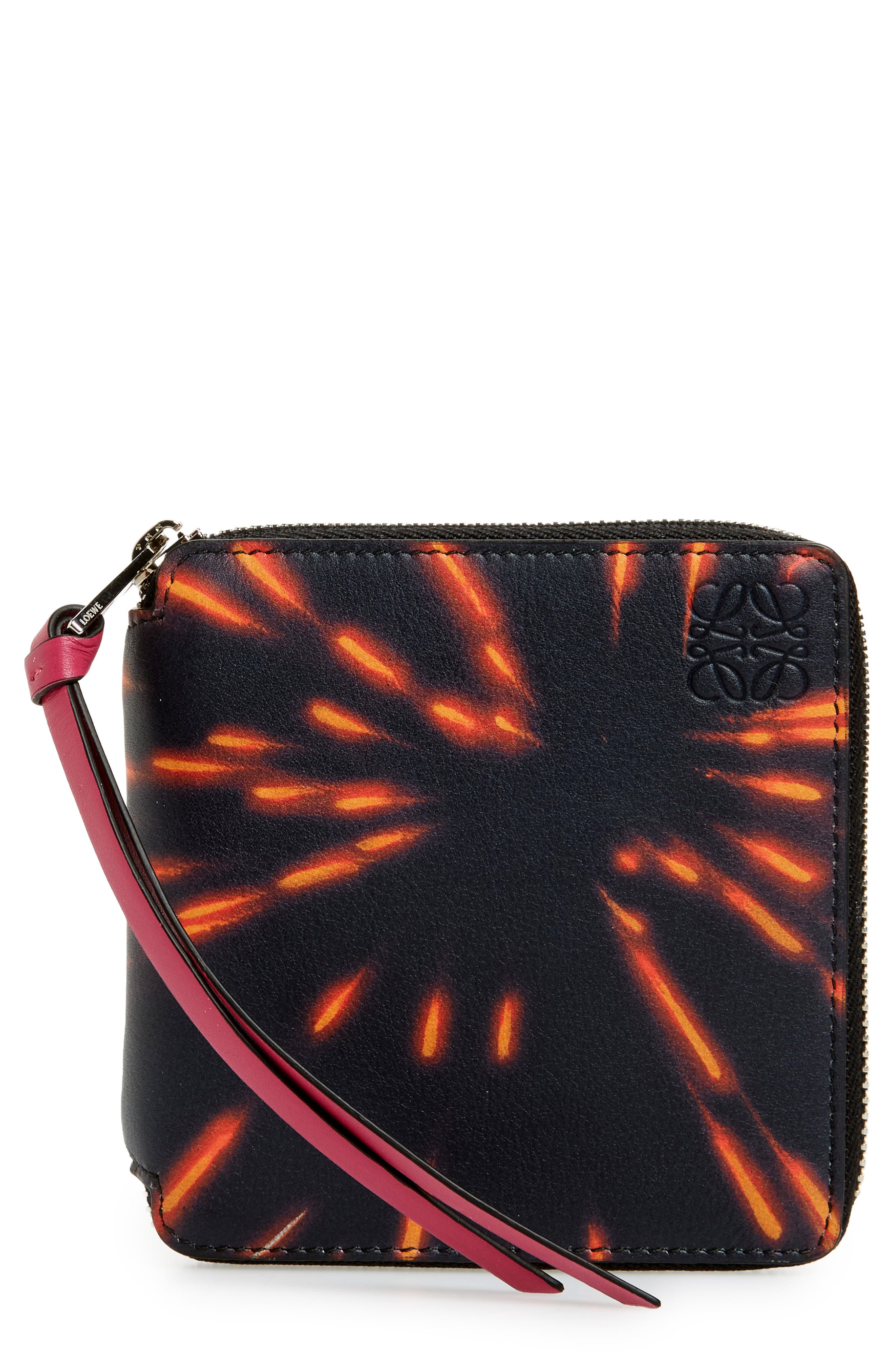 Fireworks Print Calfskin Leather Zip Wallet,                         Main,                         color, White