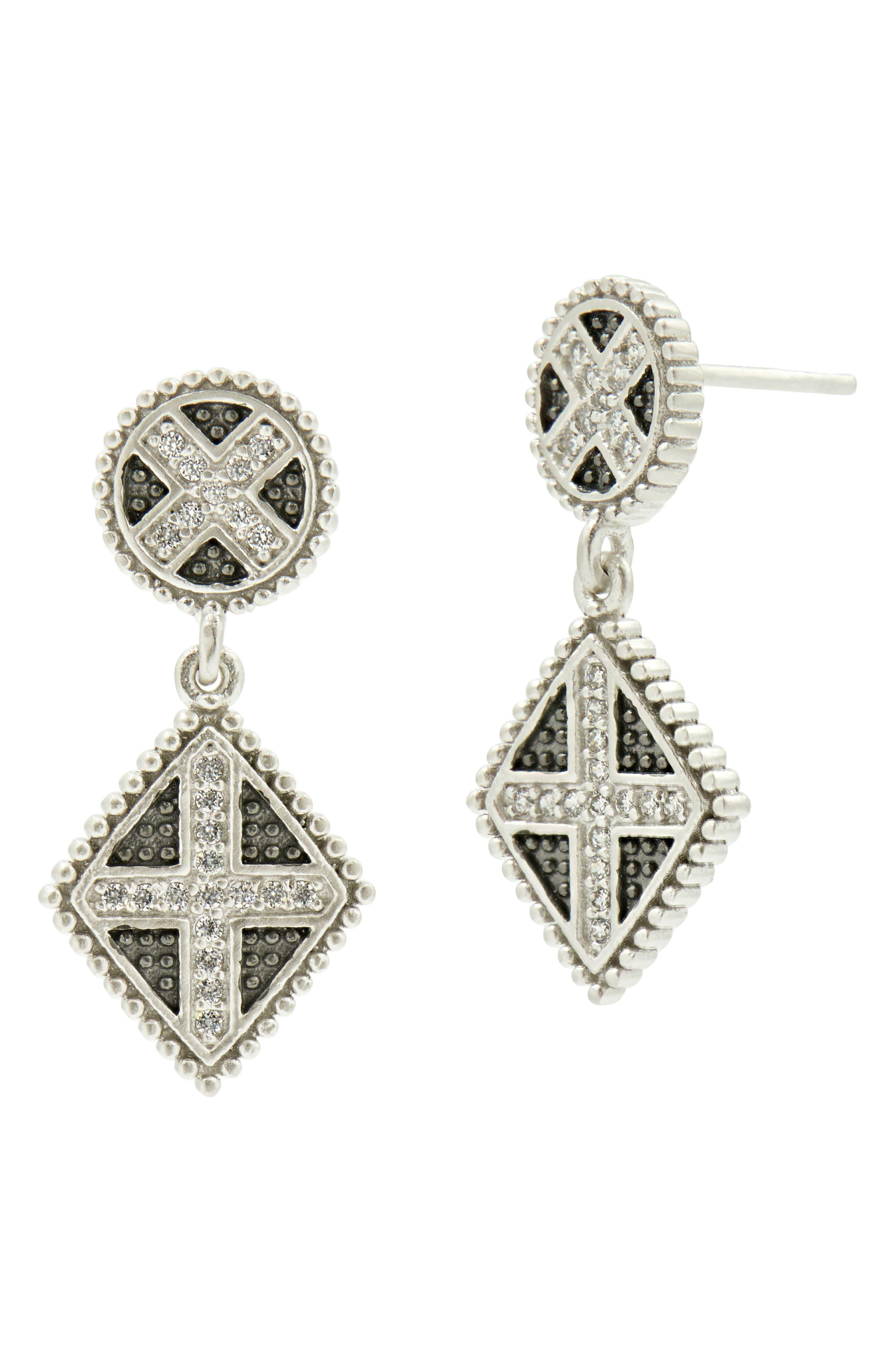 Industrial Finish Double Drop Earrings,                             Main thumbnail 1, color,                             Silver/ Black Rhodium