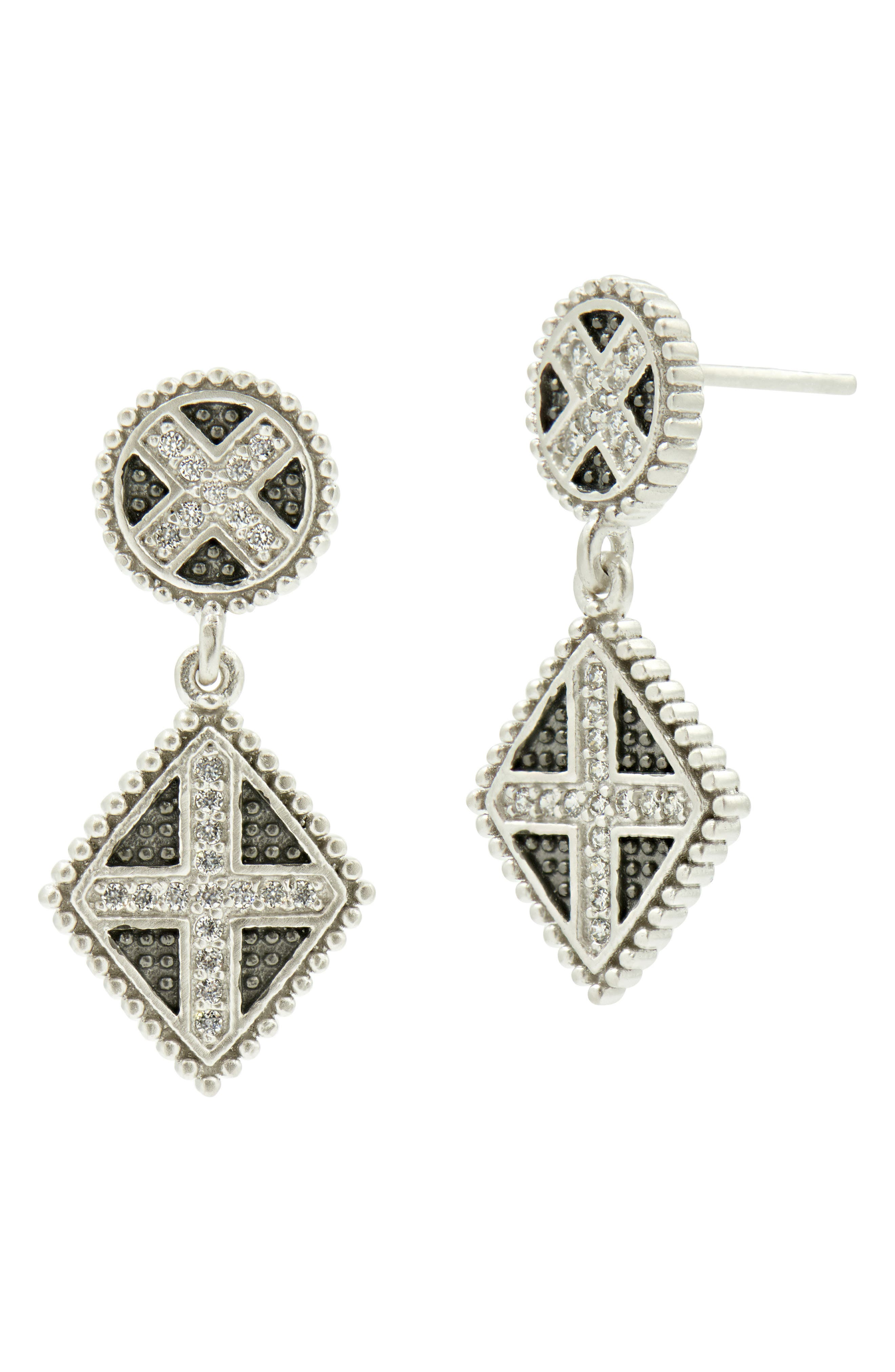 Industrial Finish Double Drop Earrings,                         Main,                         color, Silver/ Black Rhodium
