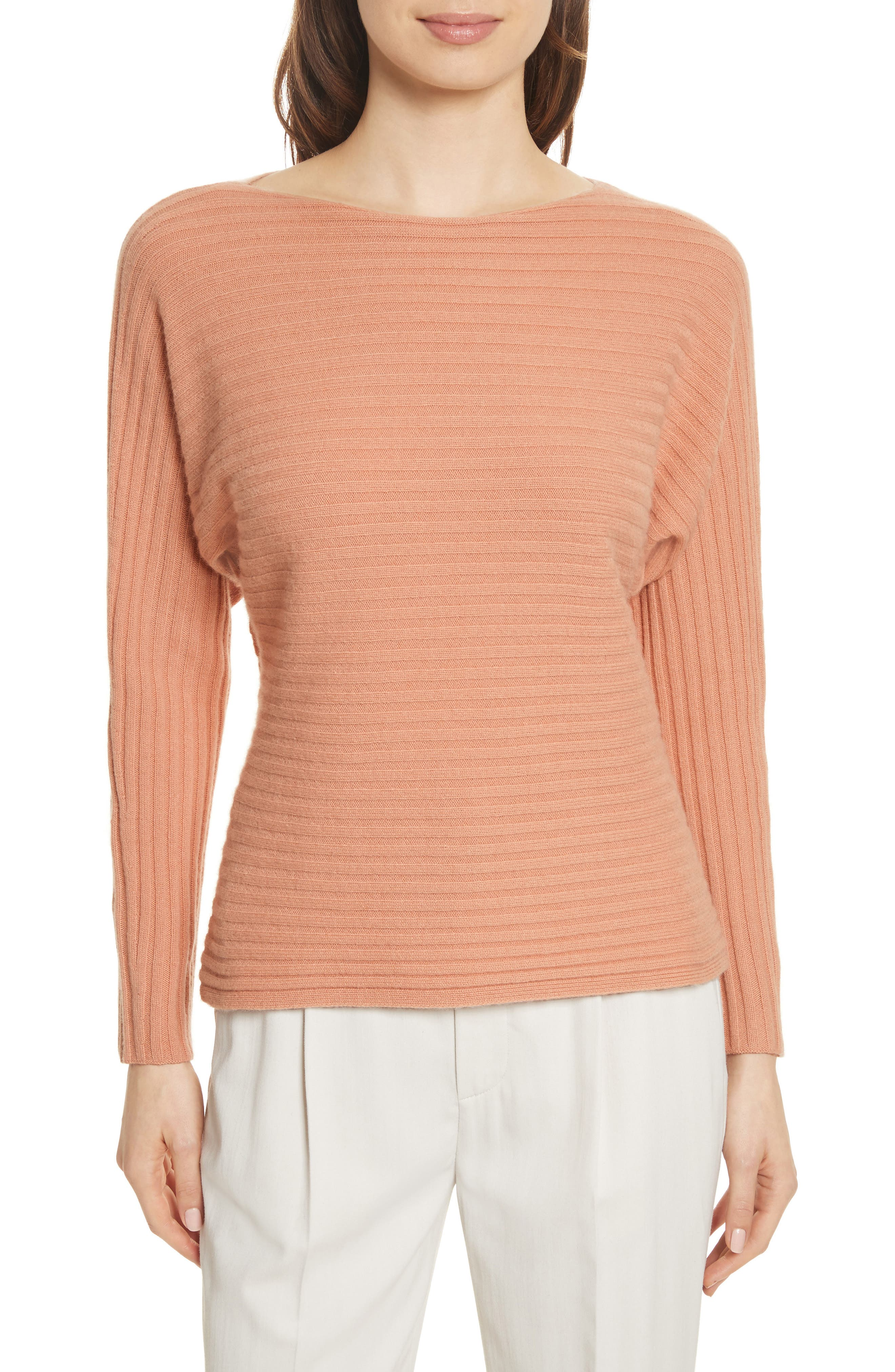 Tie Back Wool & Cashmere Sweater,                             Main thumbnail 1, color,                             Blush