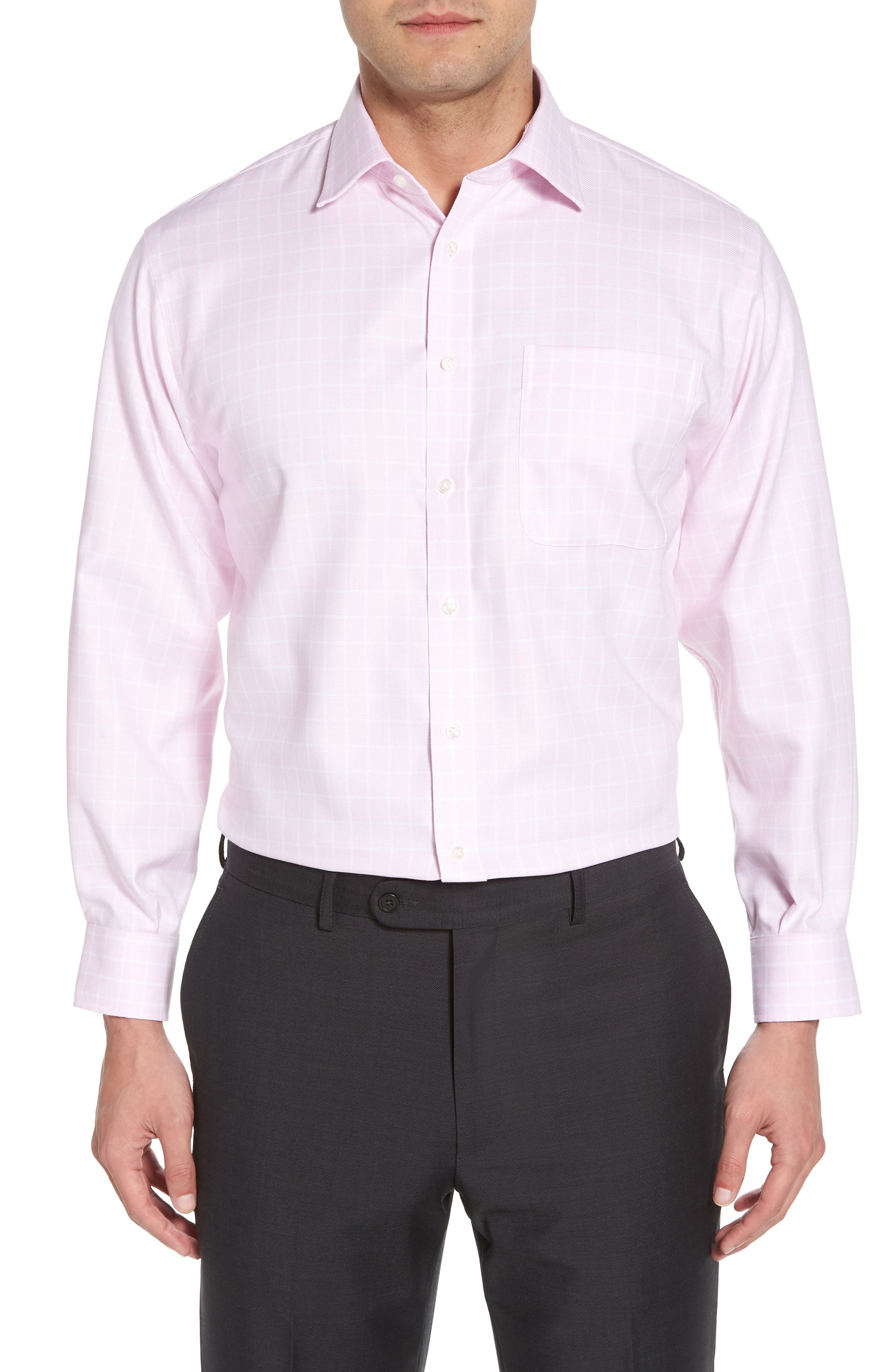 Classic Fit Non-Iron Check Dress Shirt,                         Main,                         color, Pink Lavender