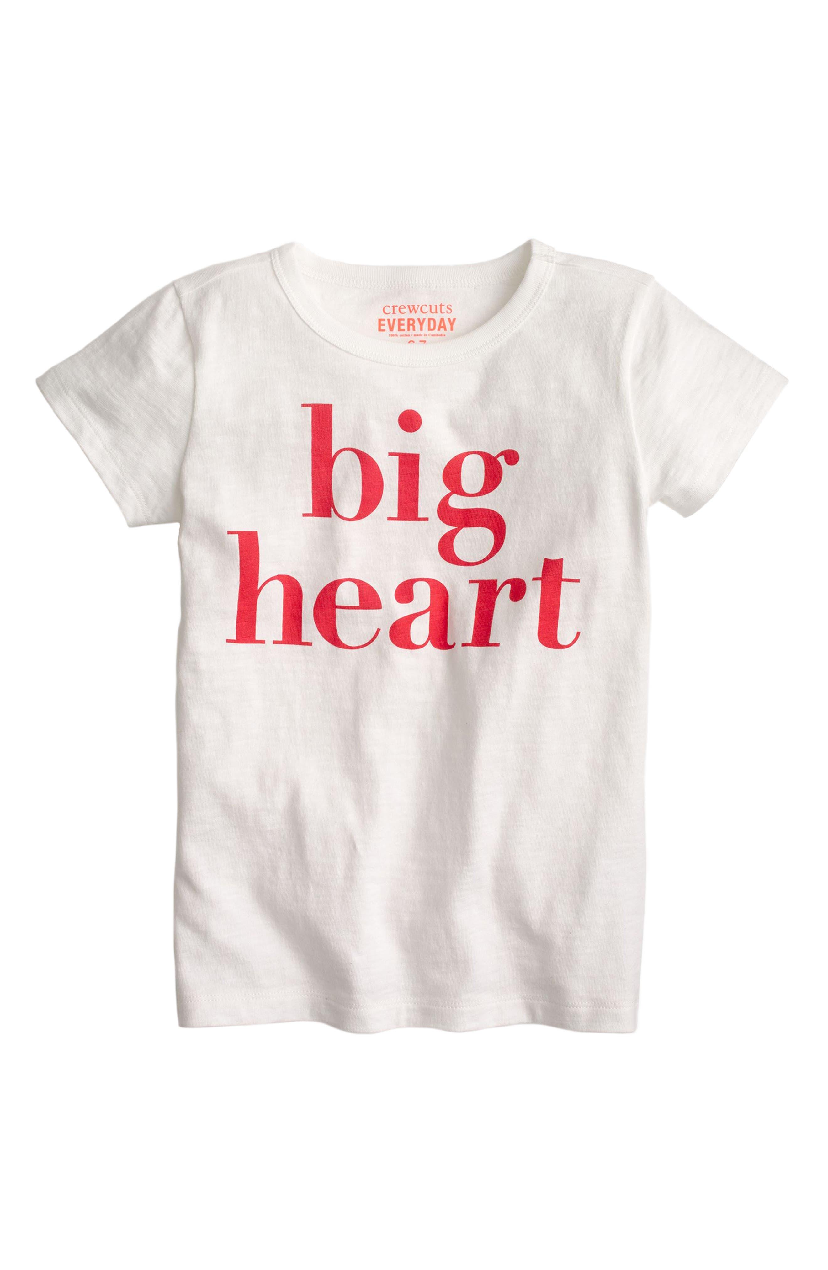 Big Heart Graphic Cotton Tee,                             Main thumbnail 1, color,                             Ivory Ka3001