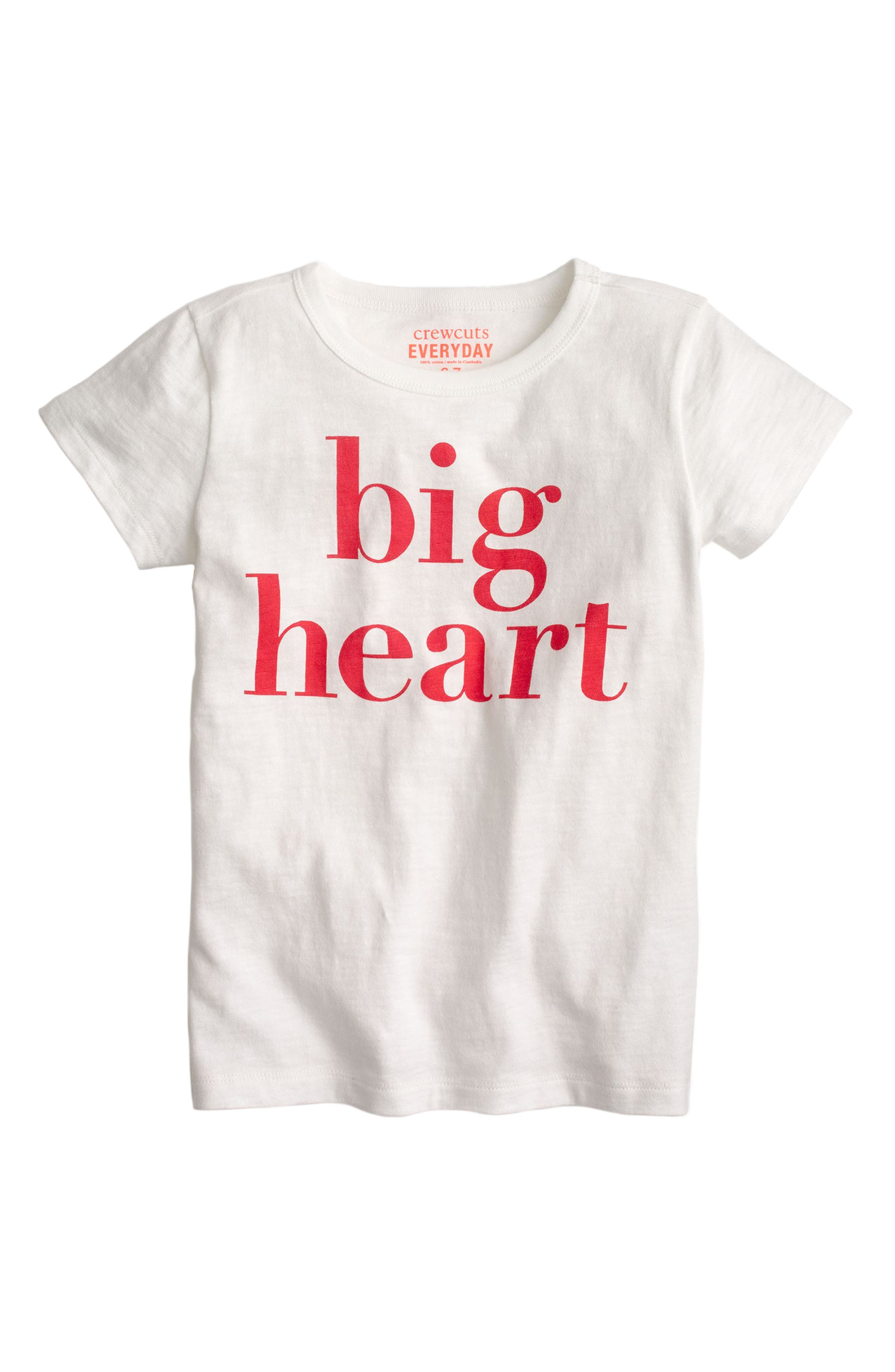 crewcuts by J.Crew Big Heart Graphic Cotton Tee (Toddler Girls, Little Girls & Big Girls)