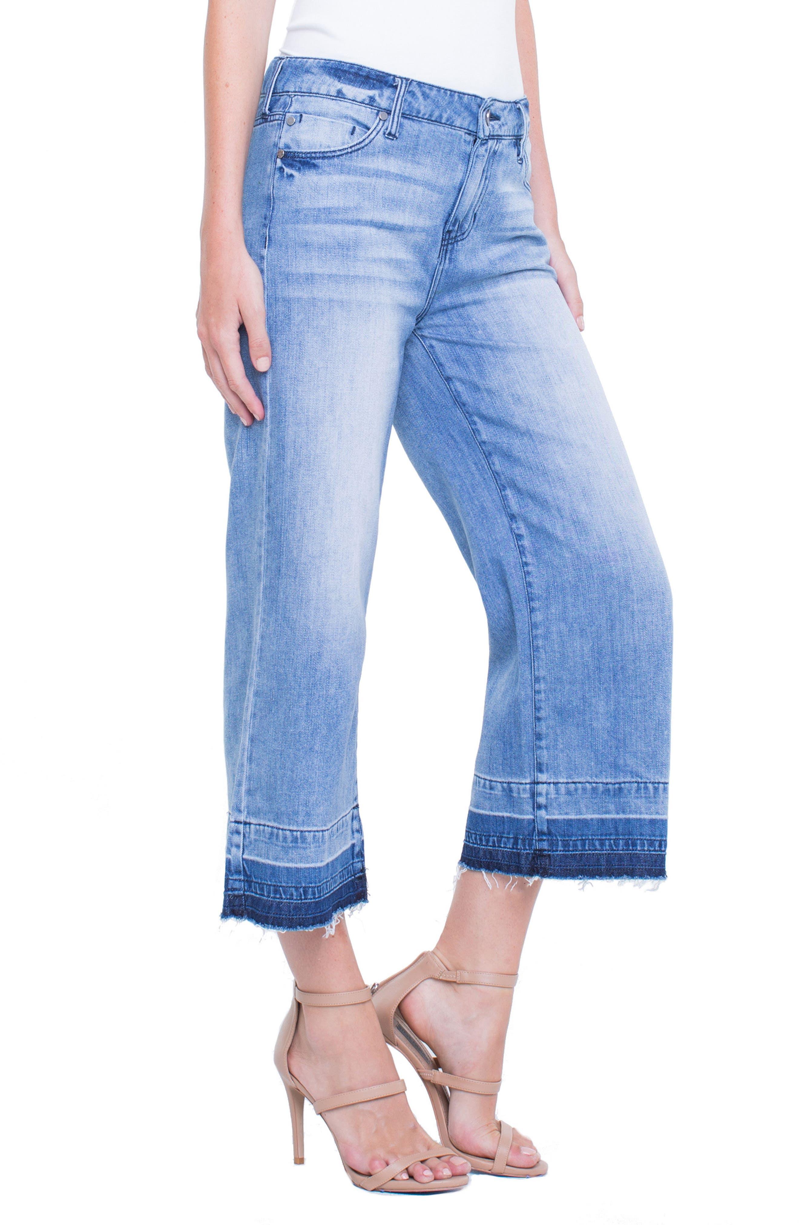 Release Hem Wide Crop Jeans,                             Alternate thumbnail 3, color,                             Denmark Grind