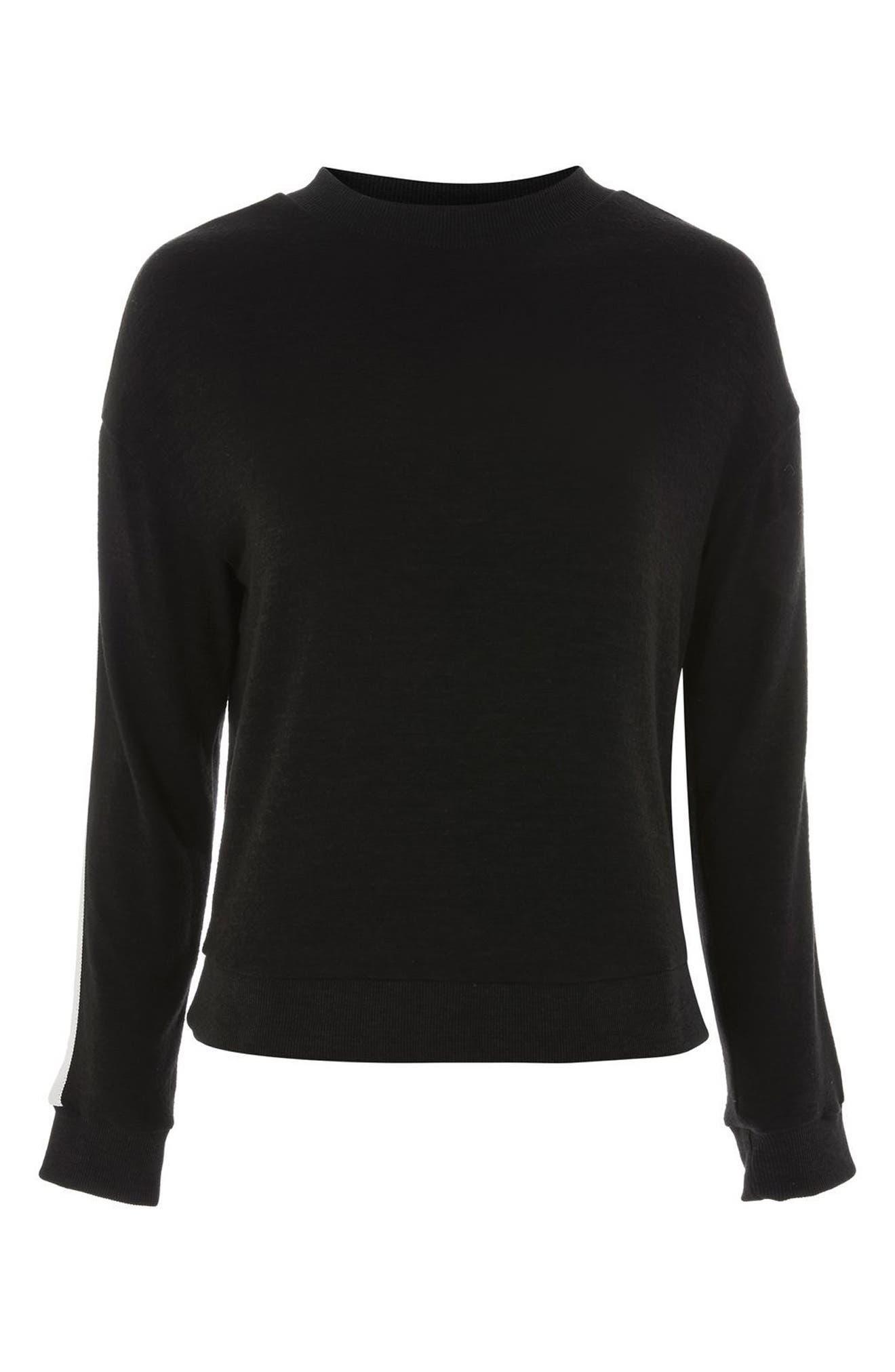 Side Stripe Sweatshirt,                             Alternate thumbnail 3, color,                             Black Multi