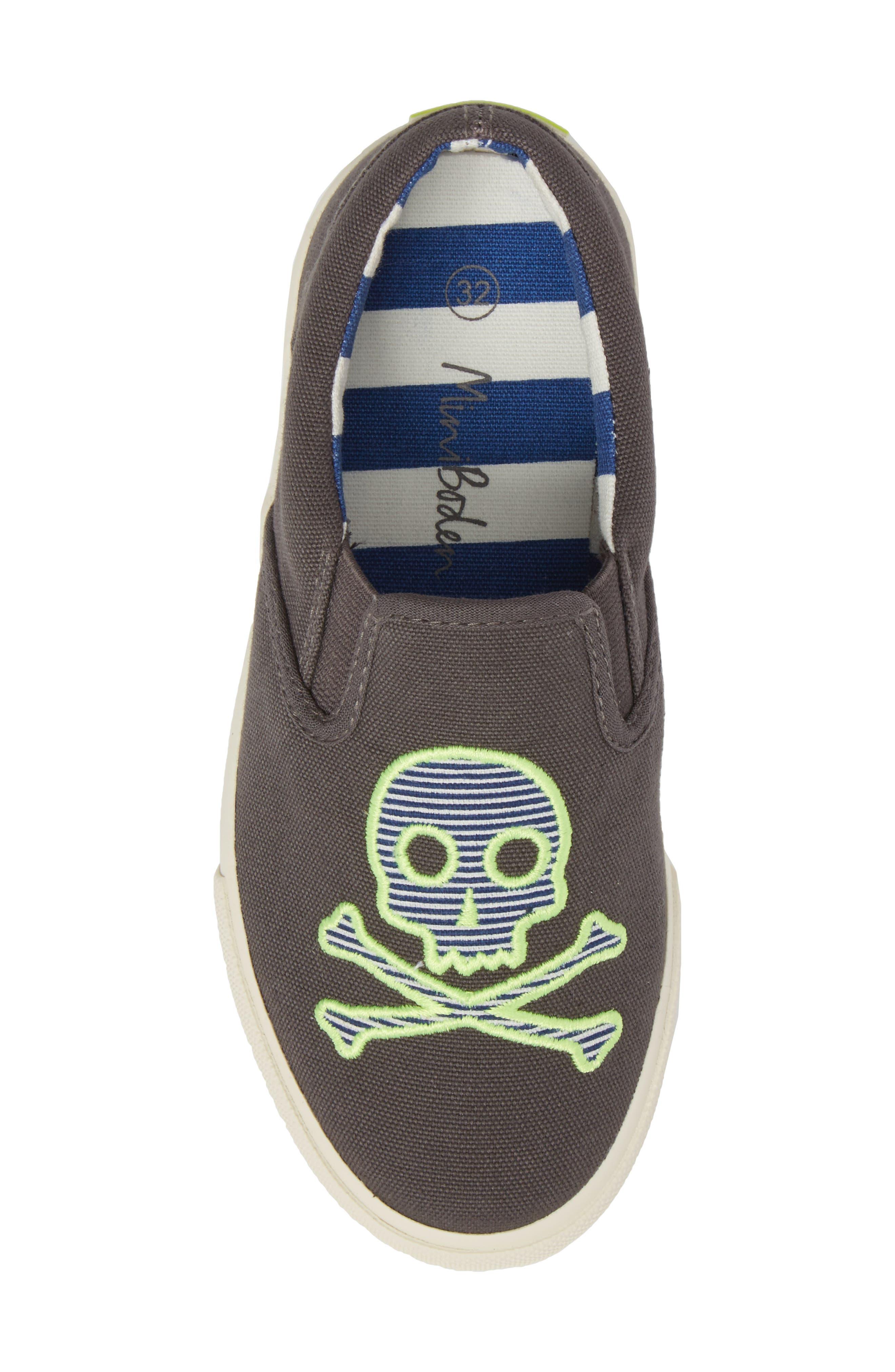 Embroidered Slip-On Sneaker,                             Alternate thumbnail 5, color,                             Shark Grey