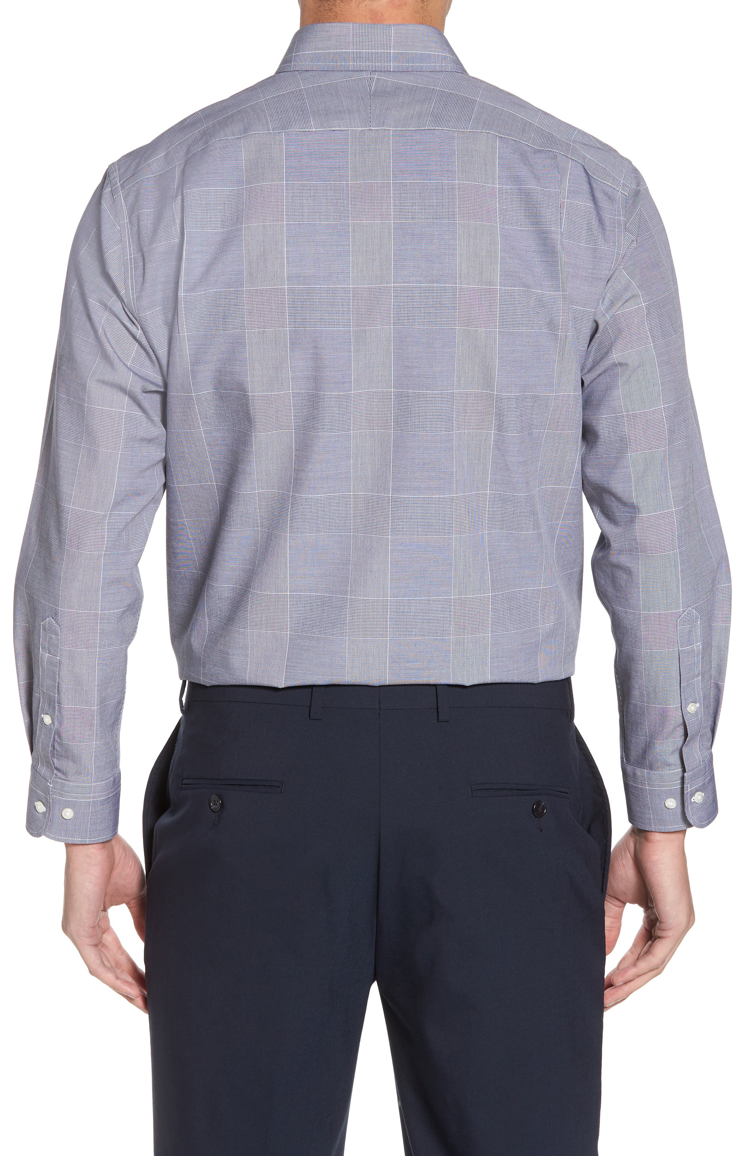 Smartcare<sup>™</sup> Traditional Fit Plaid Dress Shirt,                             Alternate thumbnail 3, color,                             Navy Peacoat