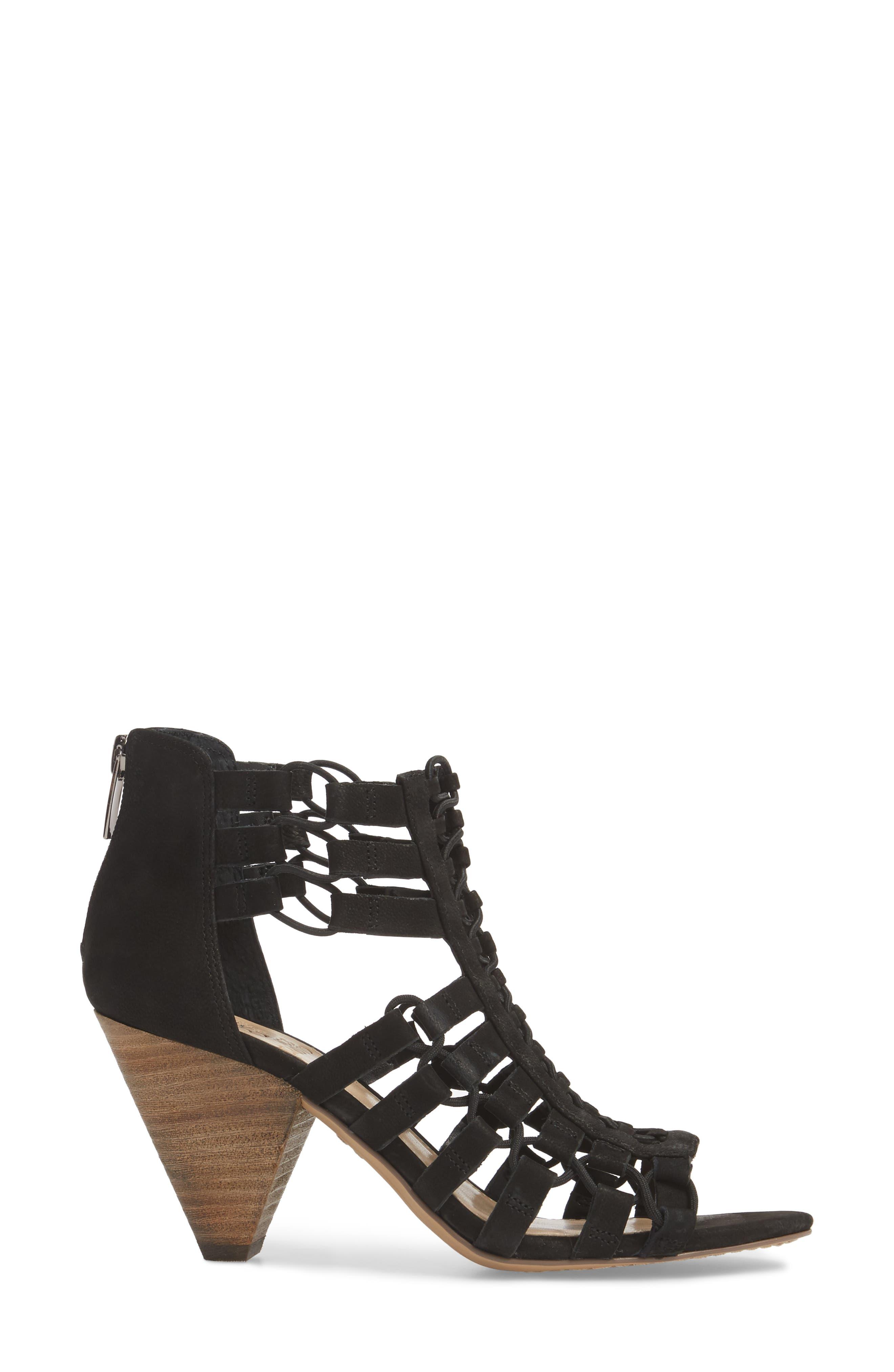 Elanso Sandal,                             Alternate thumbnail 3, color,                             Black Leather