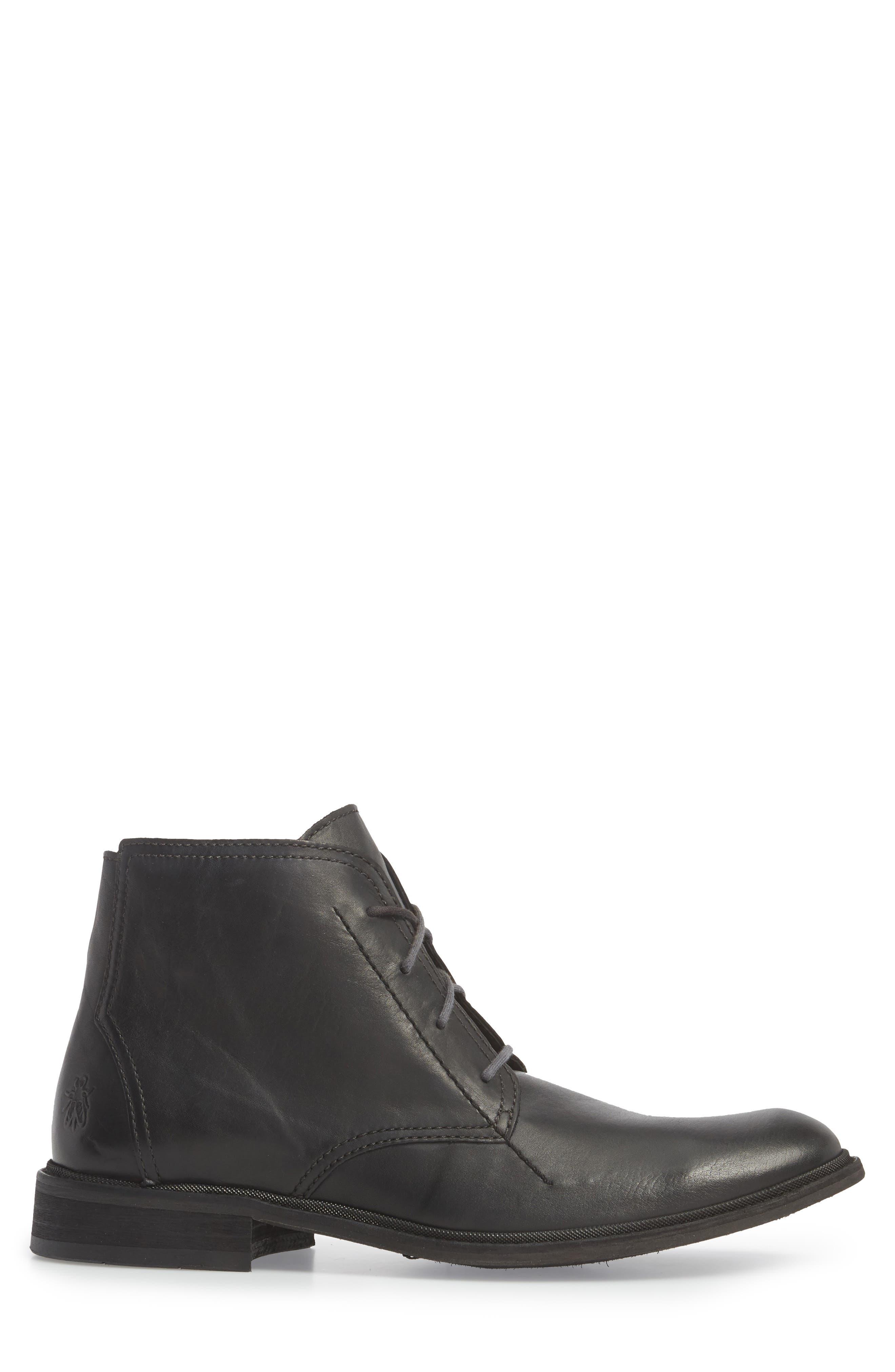 Hobi Plain Toe Chukka Boot,                             Alternate thumbnail 3, color,                             Black Leather