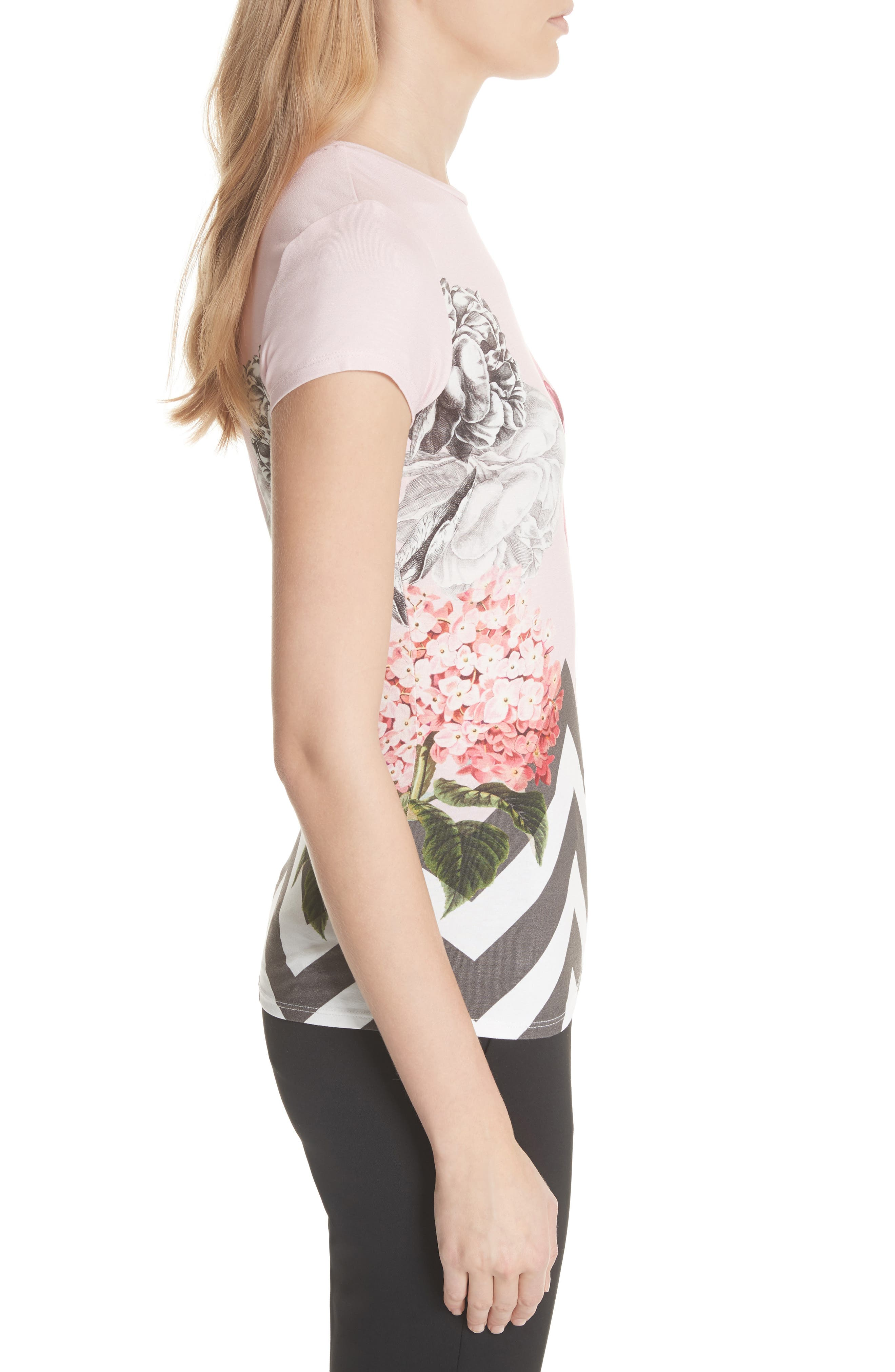 Palace Gardens Fitted Tee,                             Alternate thumbnail 3, color,                             Dusky Pink