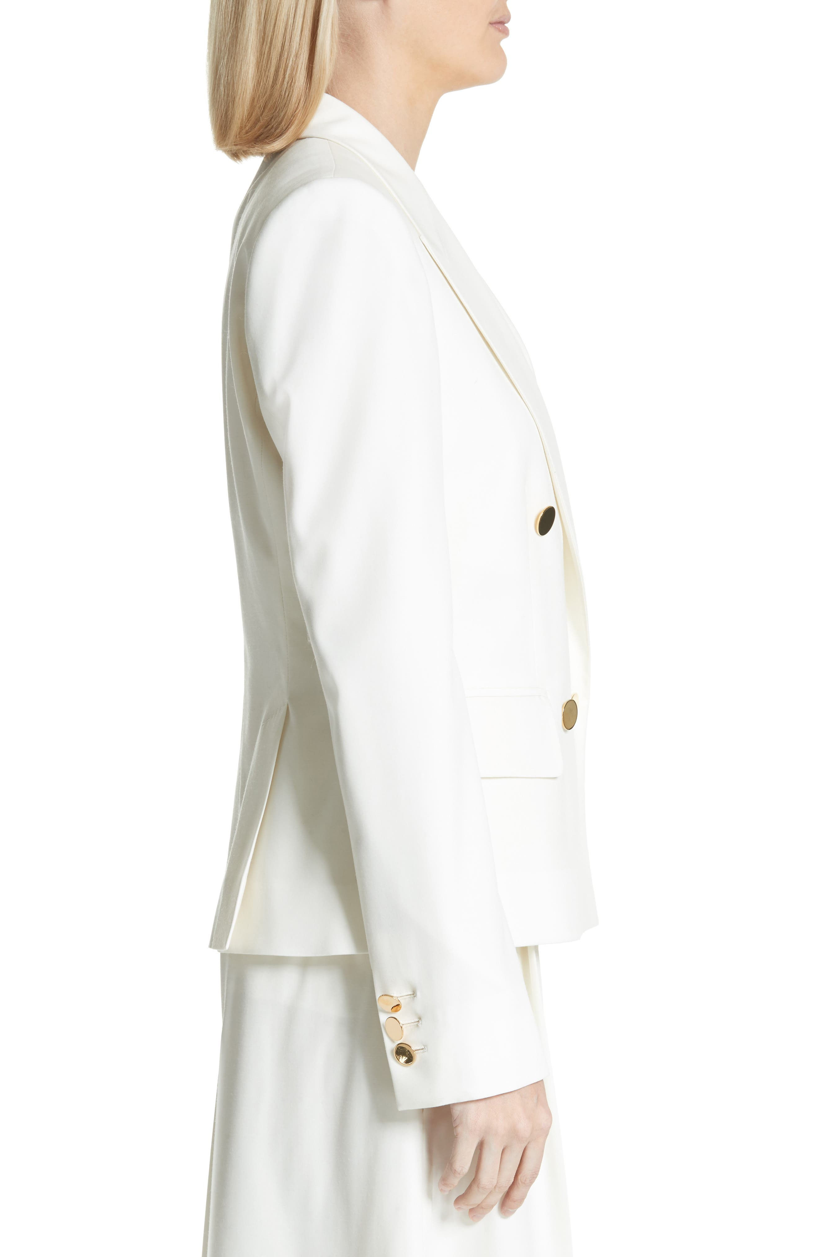 Summer Twill Double Breasted Blazer,                             Alternate thumbnail 3, color,                             Cream