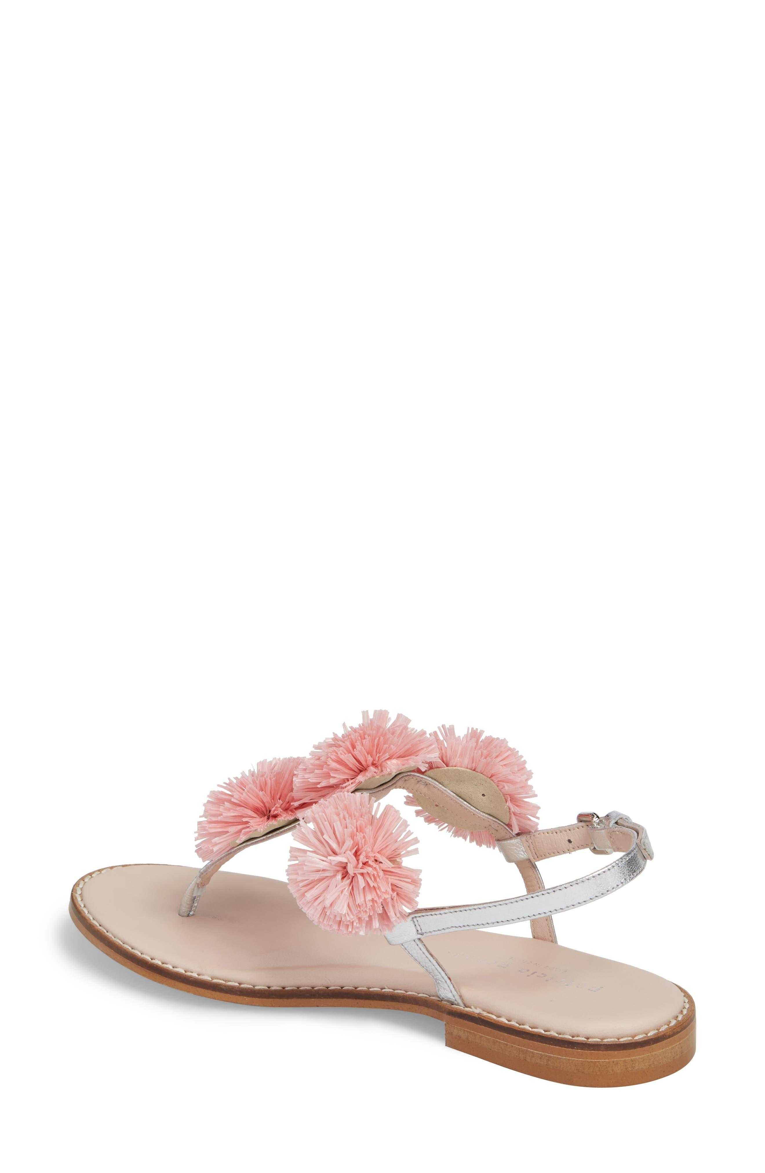 Pompom Thong Sandal,                             Alternate thumbnail 2, color,                             Pink Leather