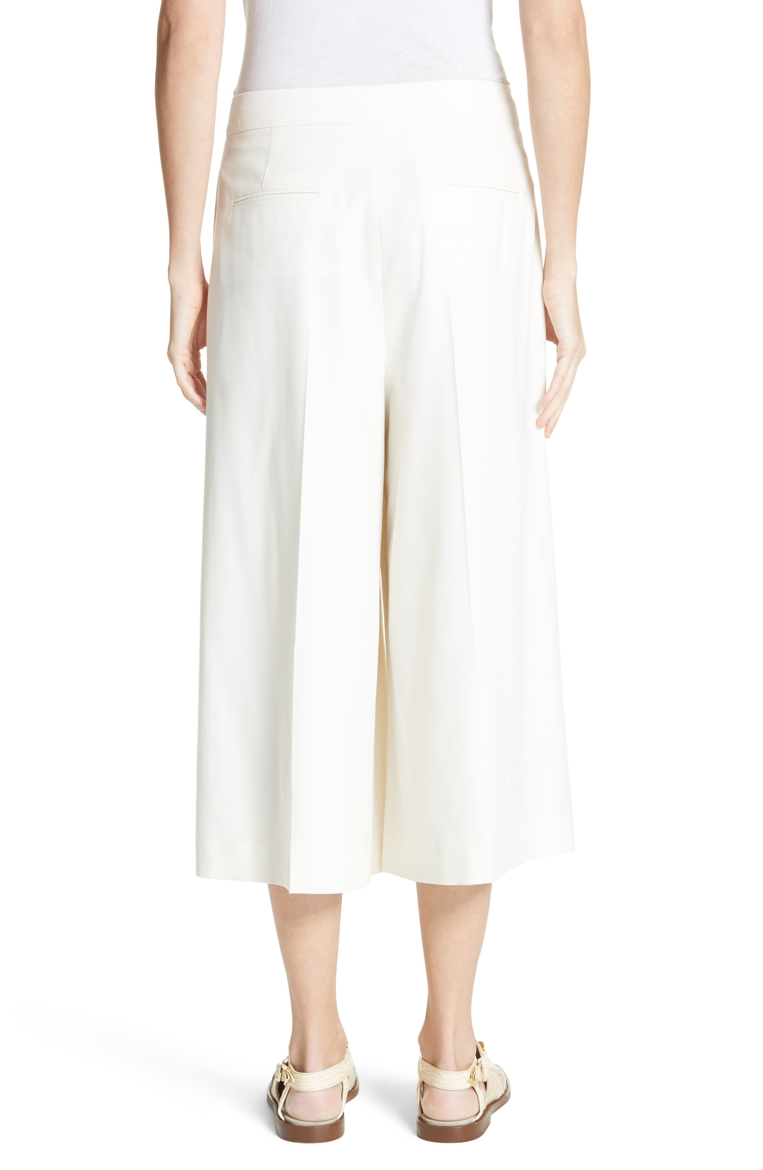 Wool Twill Culottes,                             Alternate thumbnail 3, color,                             Cream