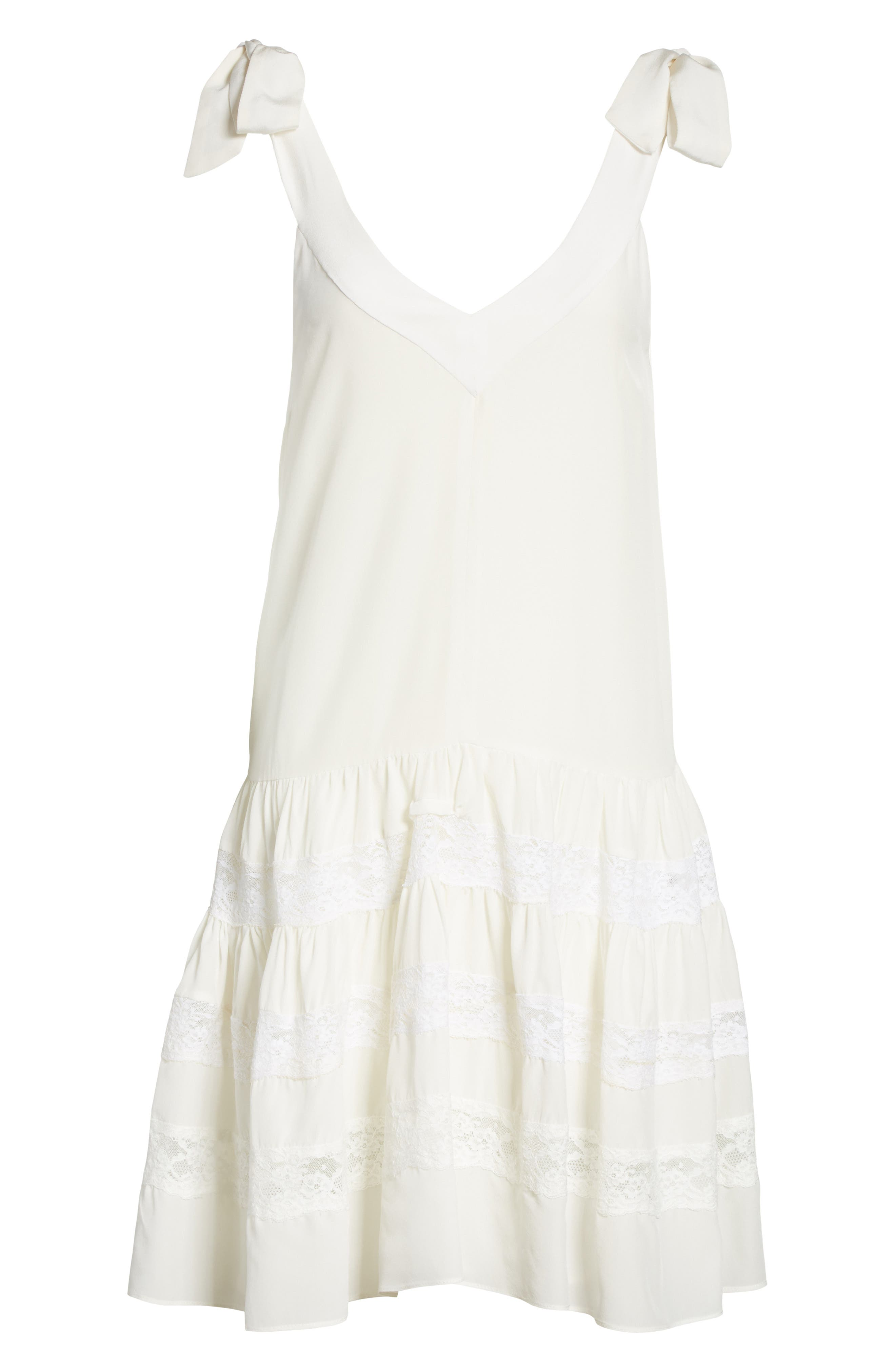 Sleeveless Silk & Lace Dress,                             Alternate thumbnail 6, color,                             Snow/ Snow