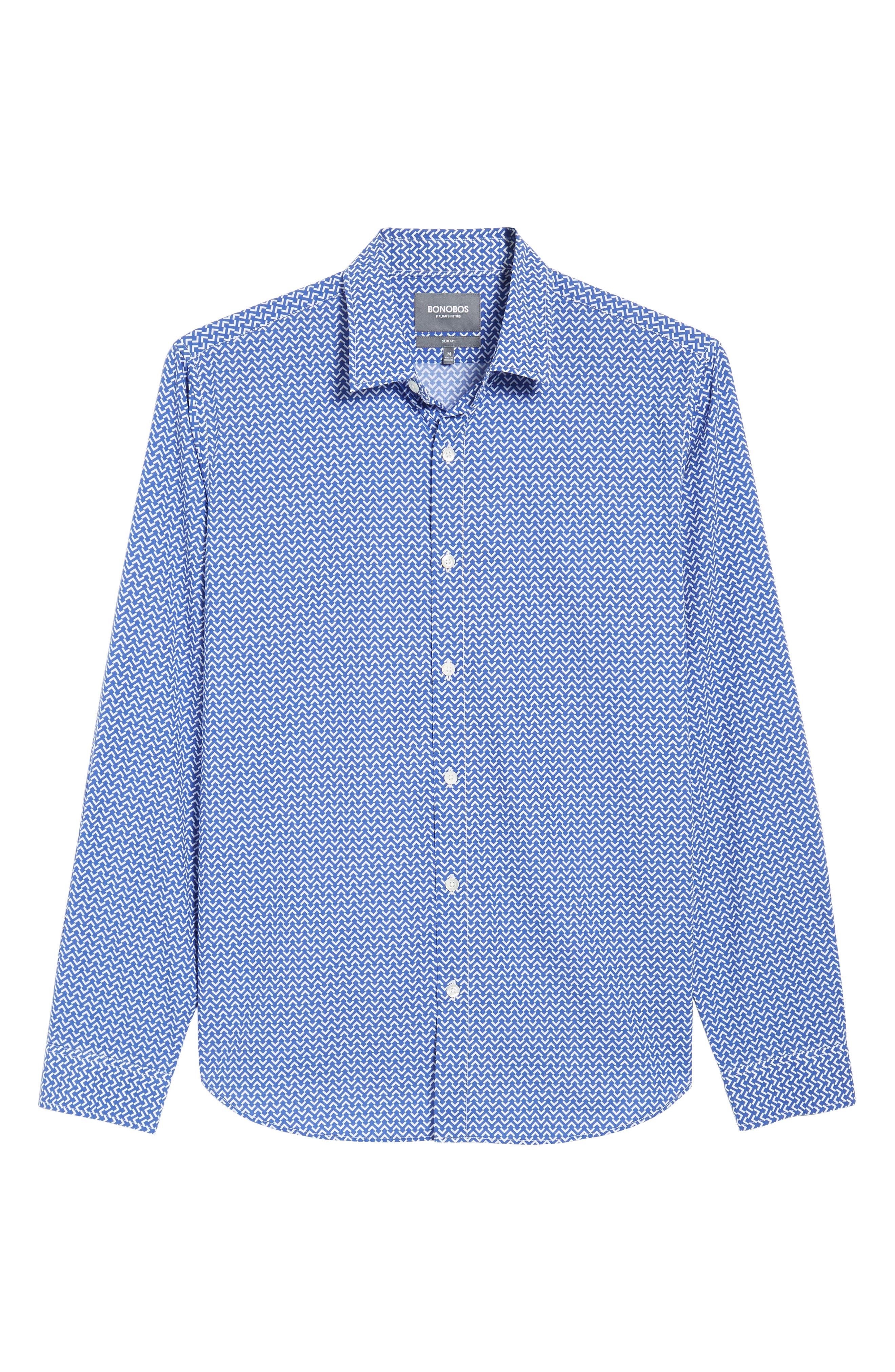 Premium Slim Fit Print Sport Shirt,                             Alternate thumbnail 6, color,                             Blue Wave