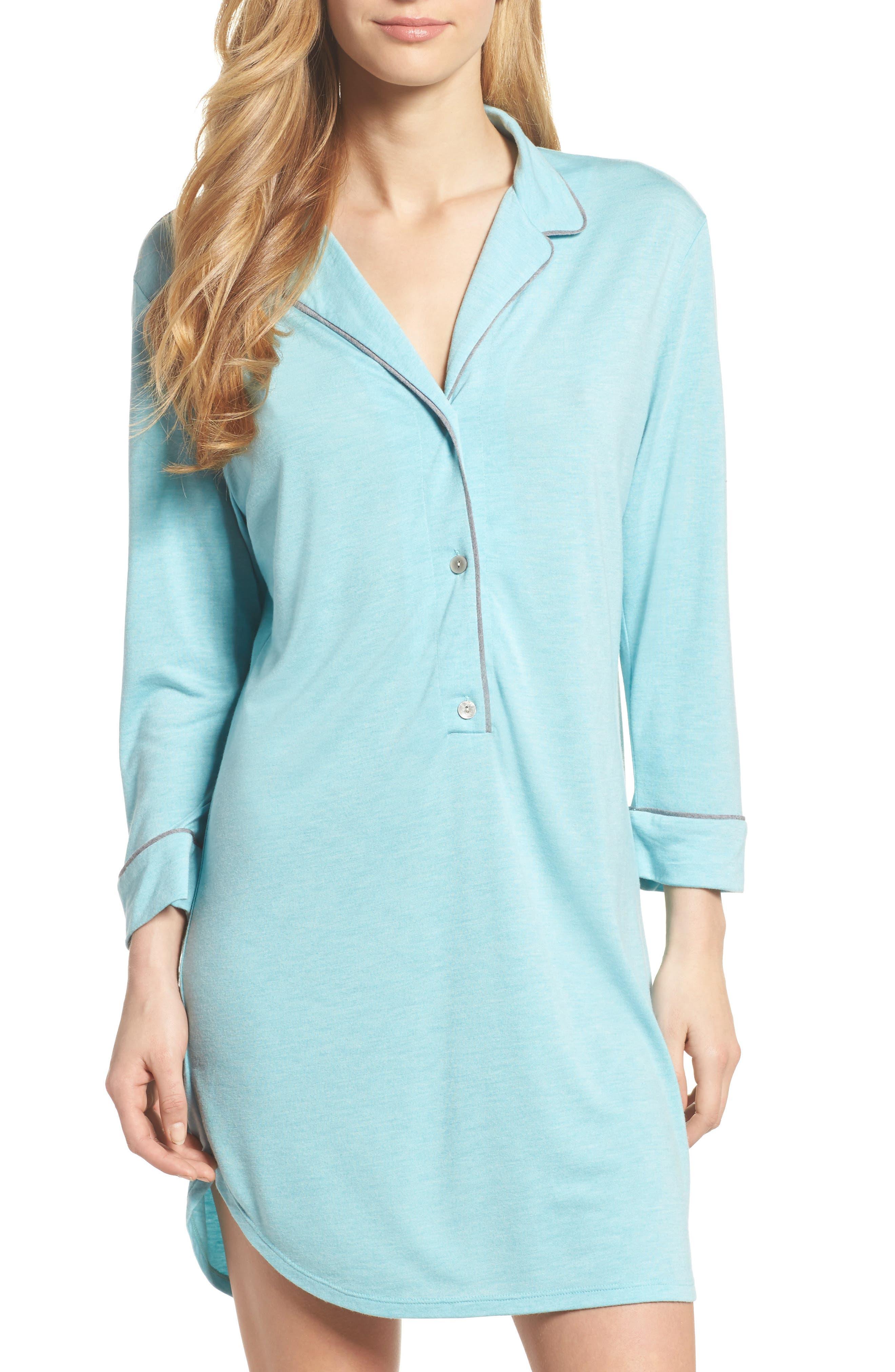 Shangri-La Sleep Shirt,                             Main thumbnail 1, color,                             Turquoise