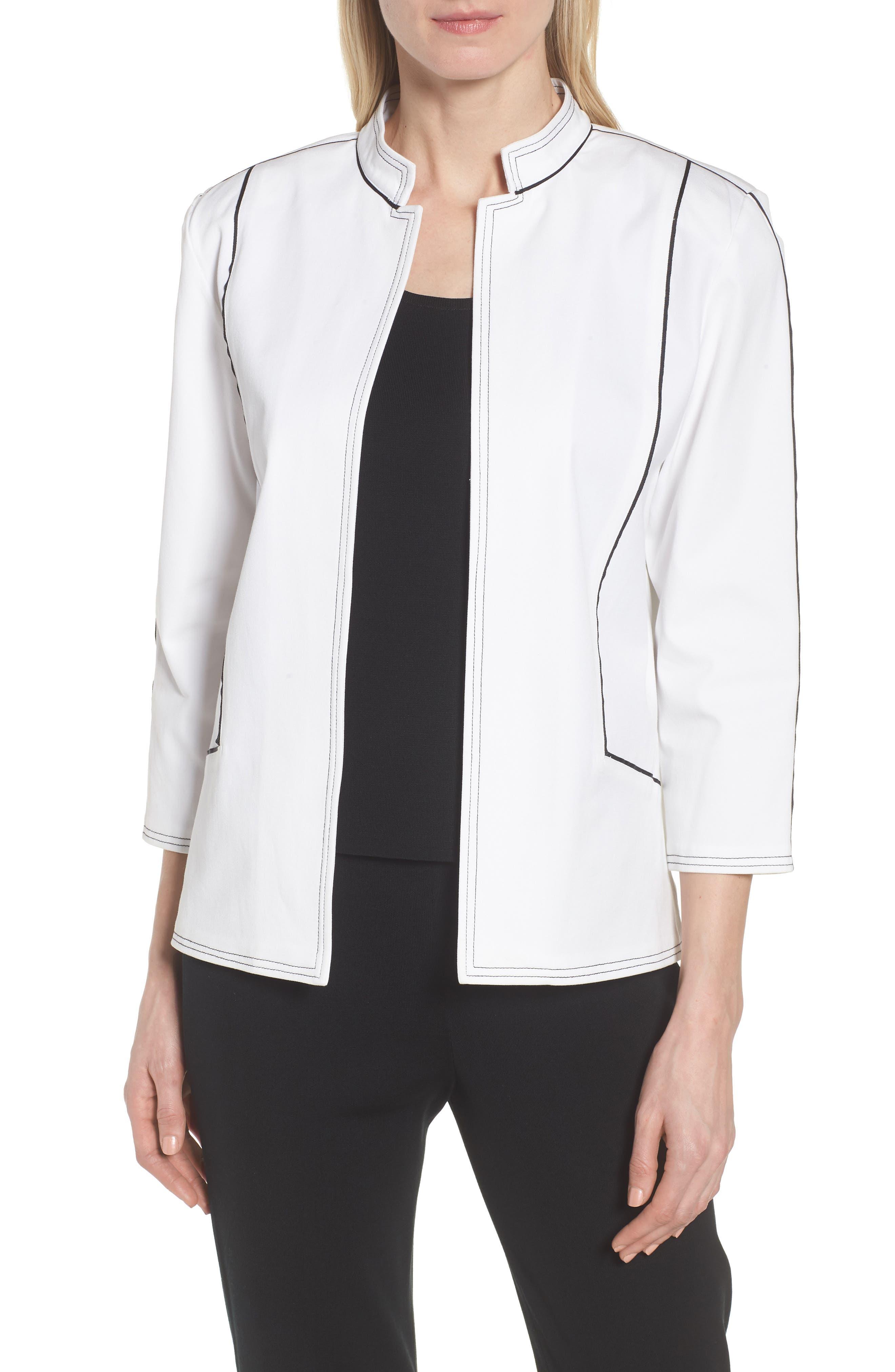 Mandarin Collar Stitch Trim Jacket,                             Main thumbnail 1, color,                             White/ Black