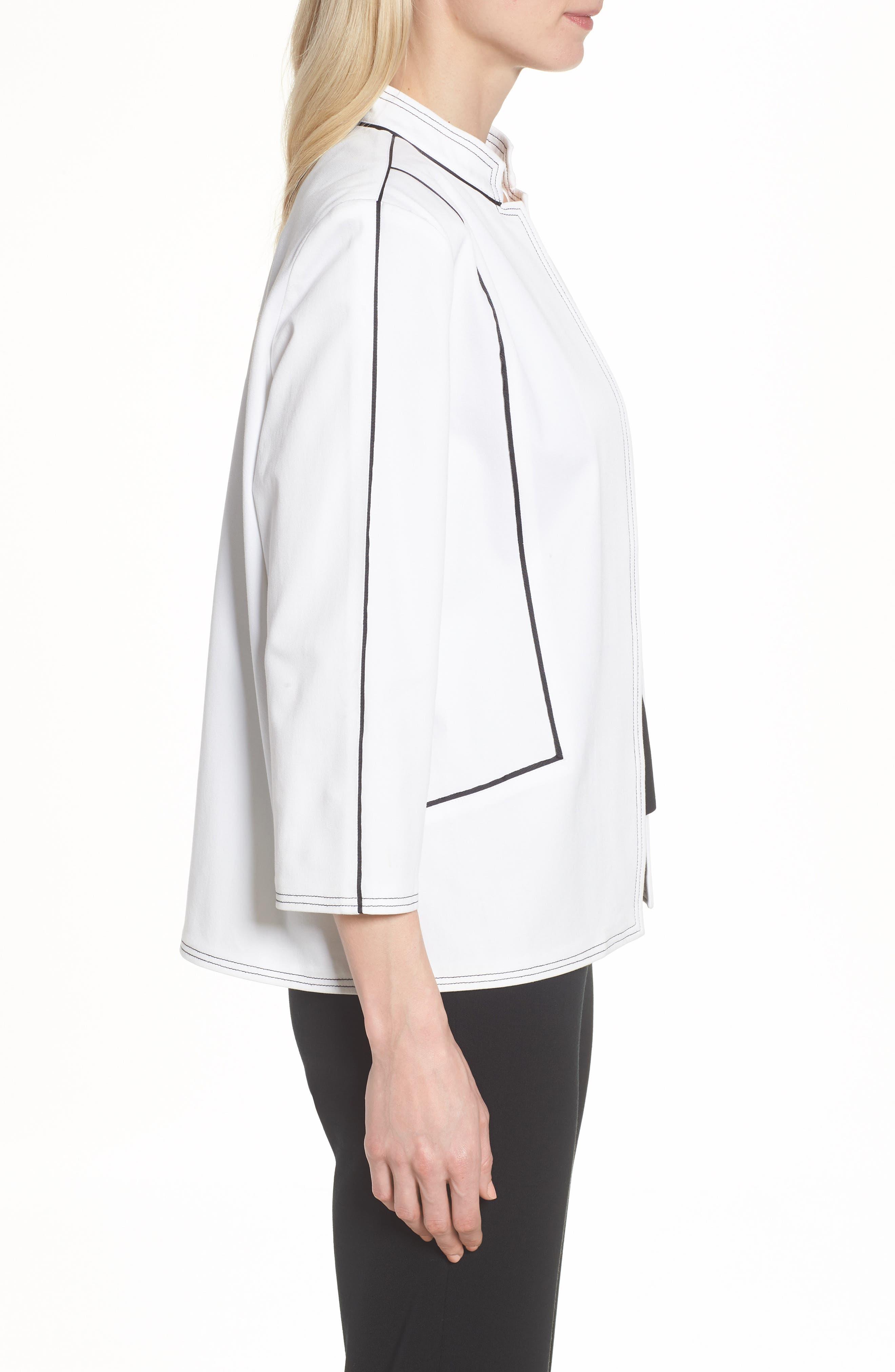 Mandarin Collar Stitch Trim Jacket,                             Alternate thumbnail 3, color,                             White/ Black