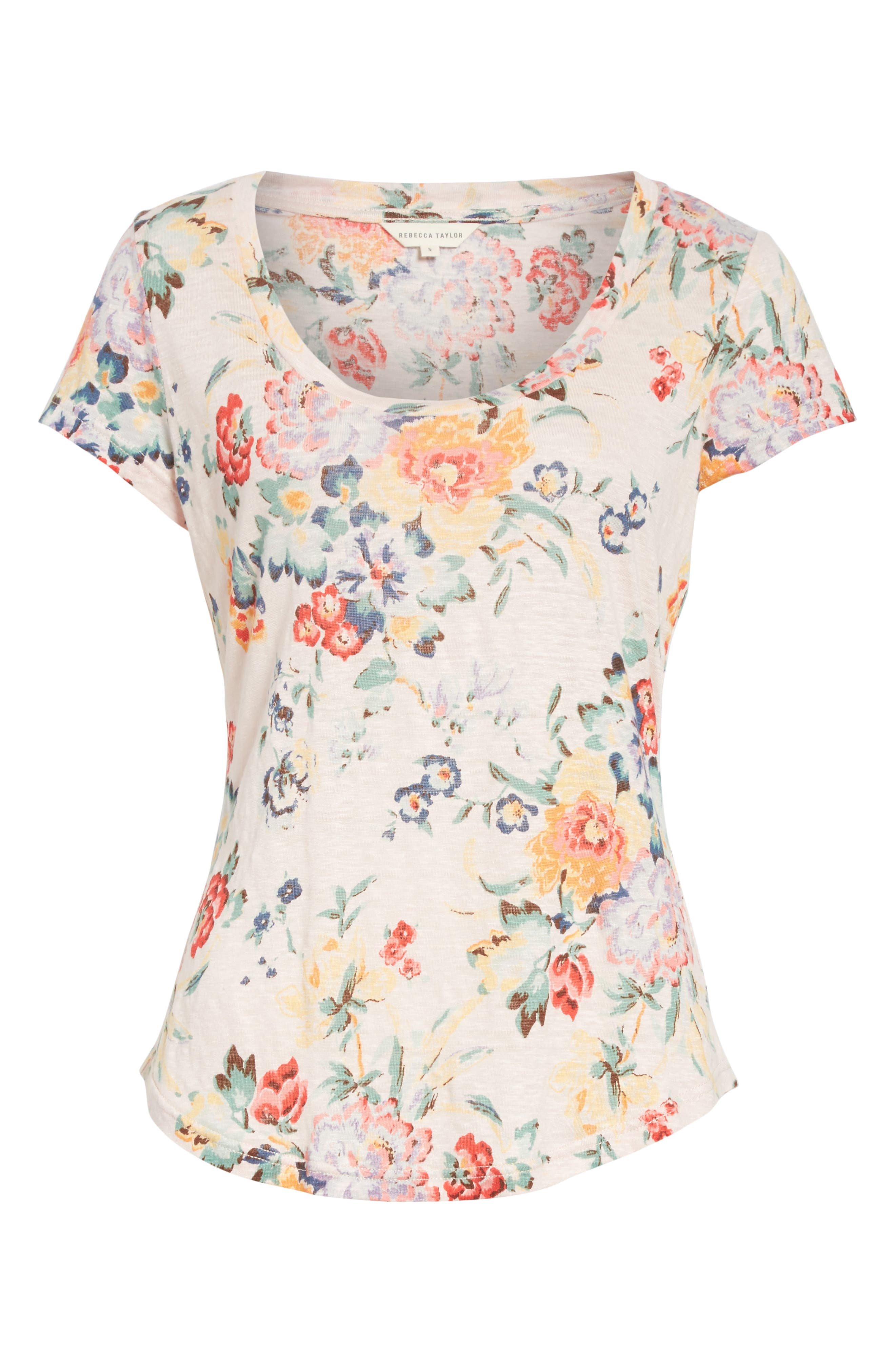 Marlena Floral Linen Tee,                             Alternate thumbnail 6, color,                             Dusty Rose Combo