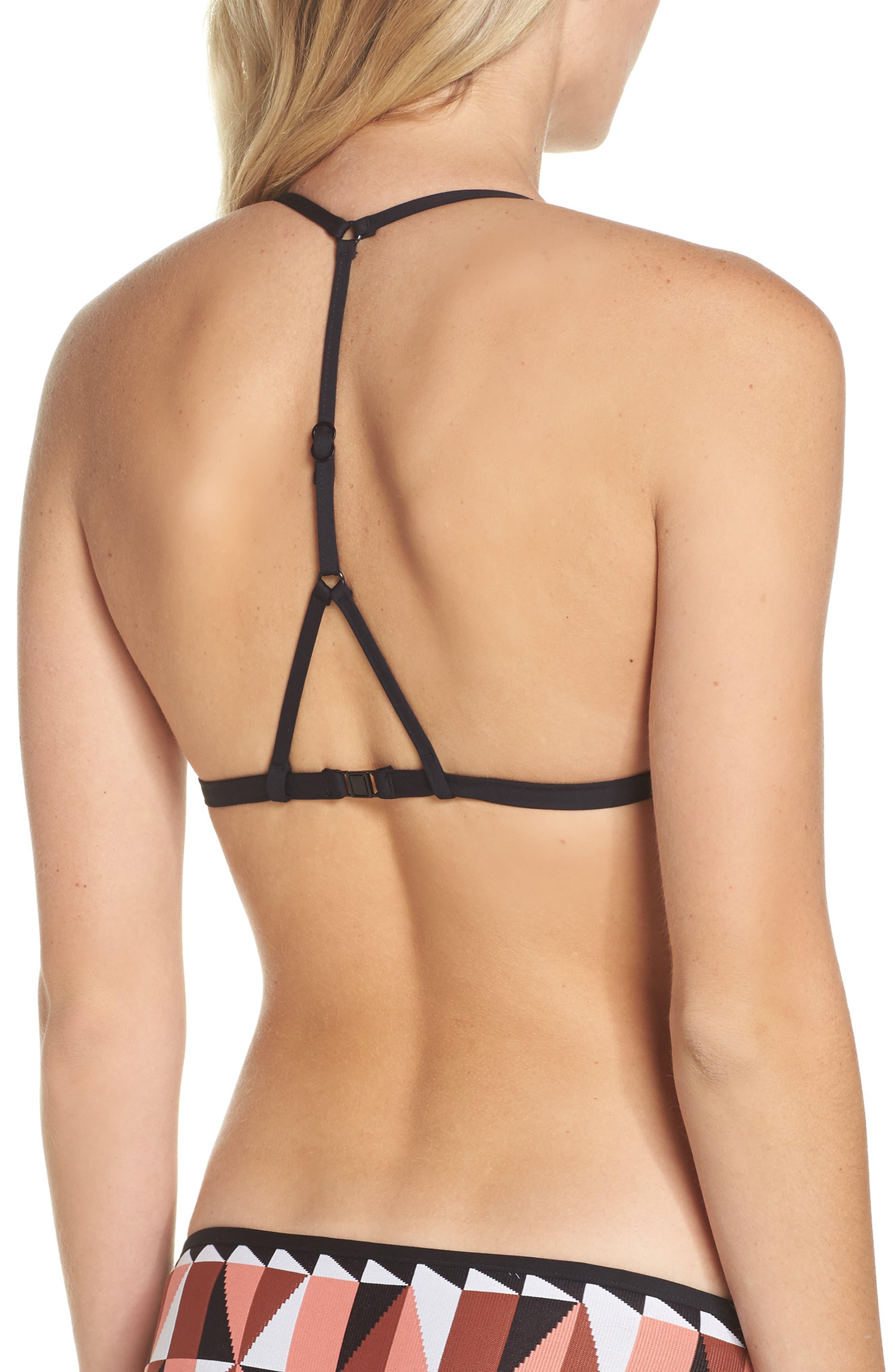 Jagged Geo Action Back Triangle Bikini Top,                             Alternate thumbnail 2, color,                             Burnt Amber