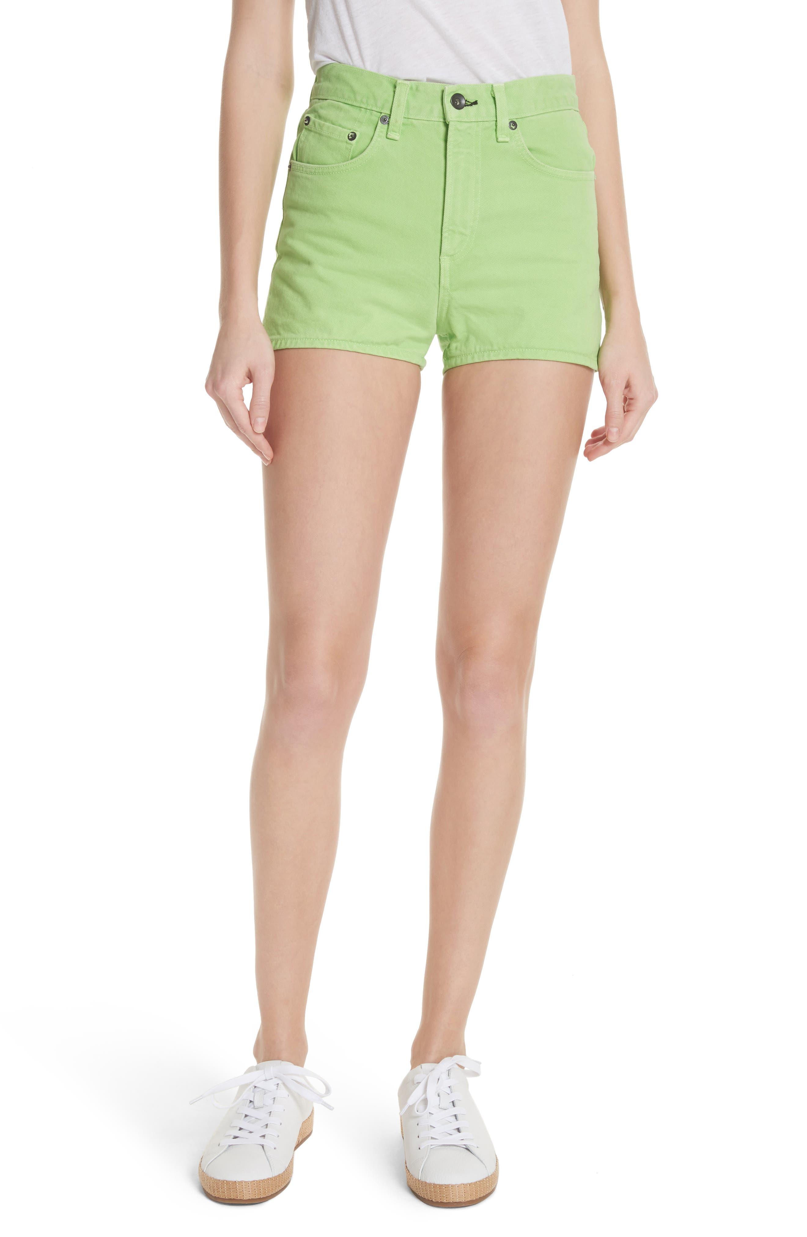Justine High Waist Denim Shorts,                         Main,                         color, Lime