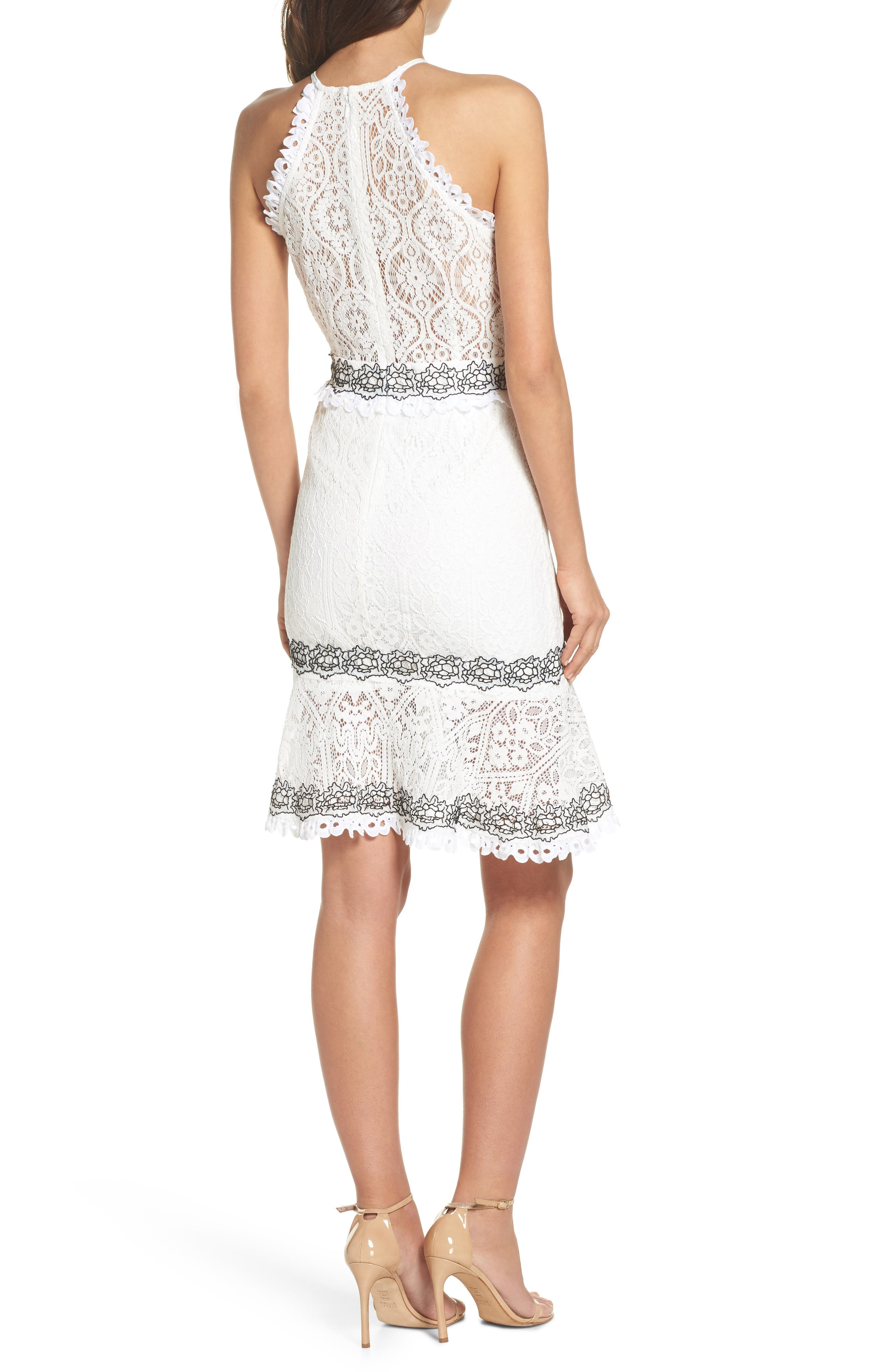 Frances Embroidered Lace Halter Dress,                             Alternate thumbnail 2, color,                             Offwhite