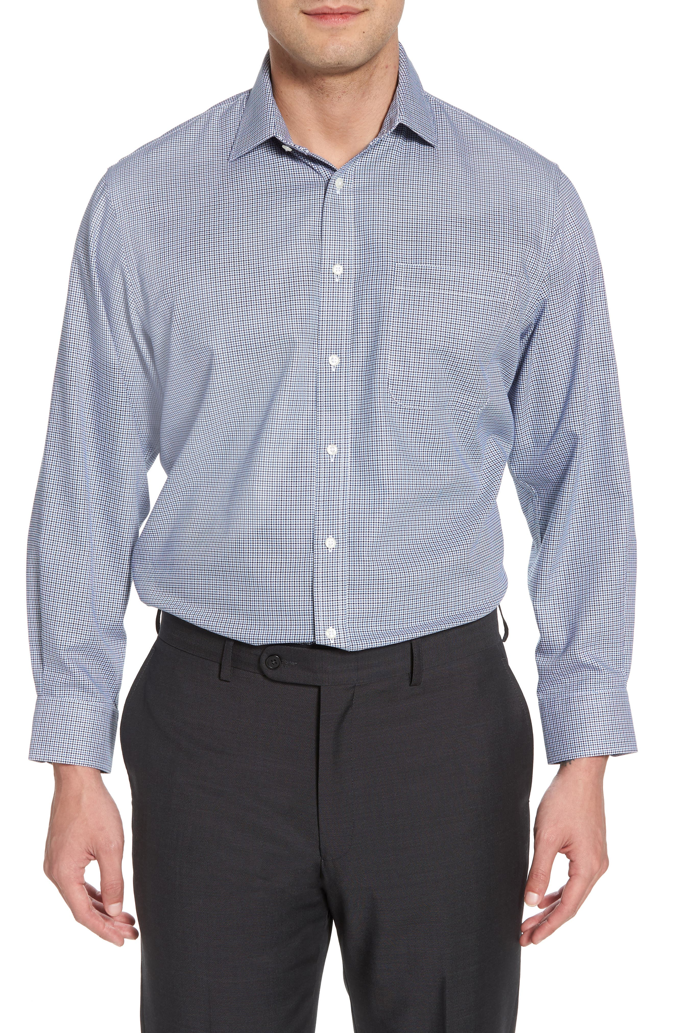Smartcare<sup>™</sup> Traditional Fit Houndstooth Dress Shirt,                         Main,                         color, Navy Medieval