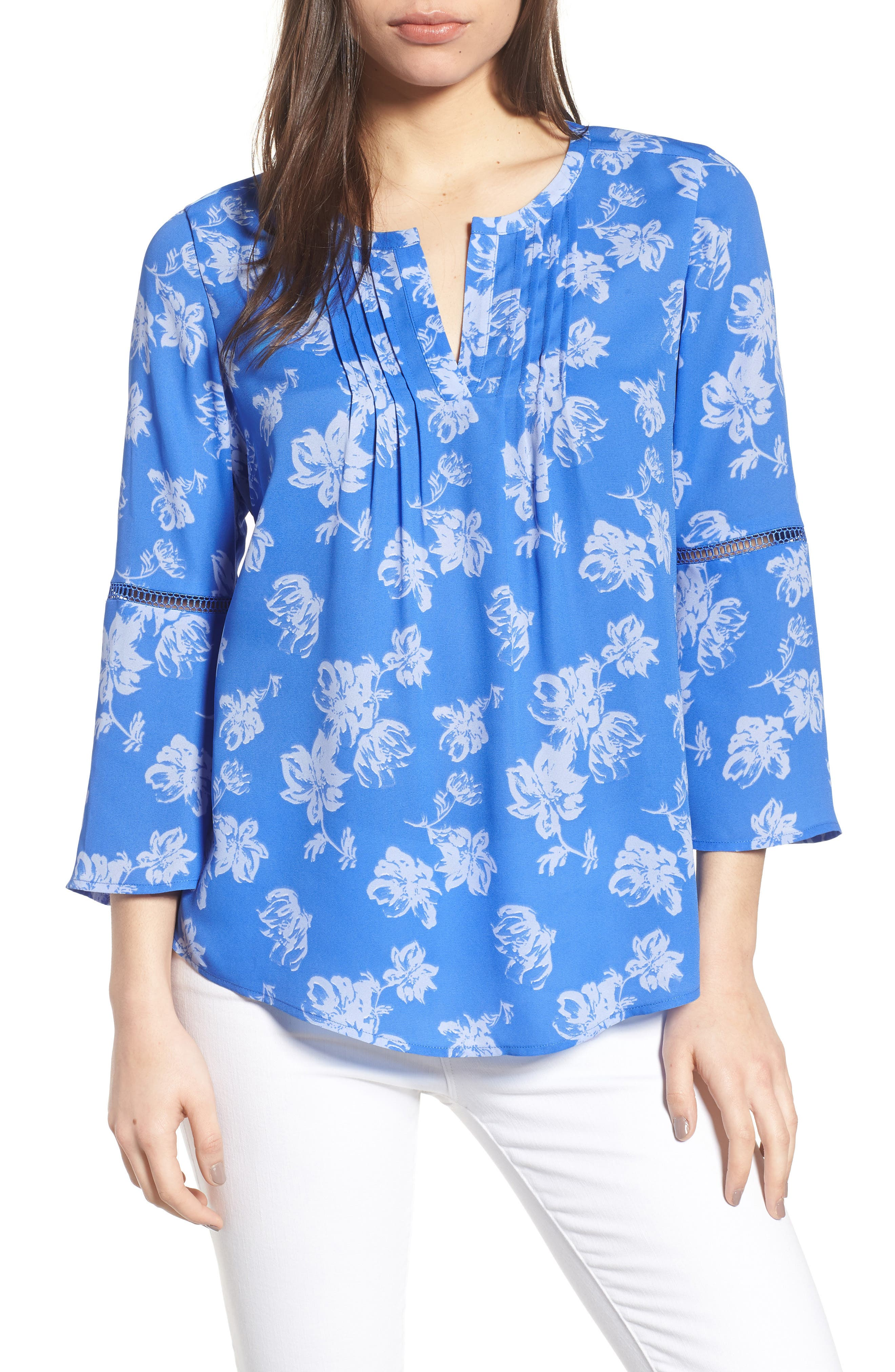 Bell Sleeve Floral Pintuck Blouse,                         Main,                         color, 428-Stella Blue