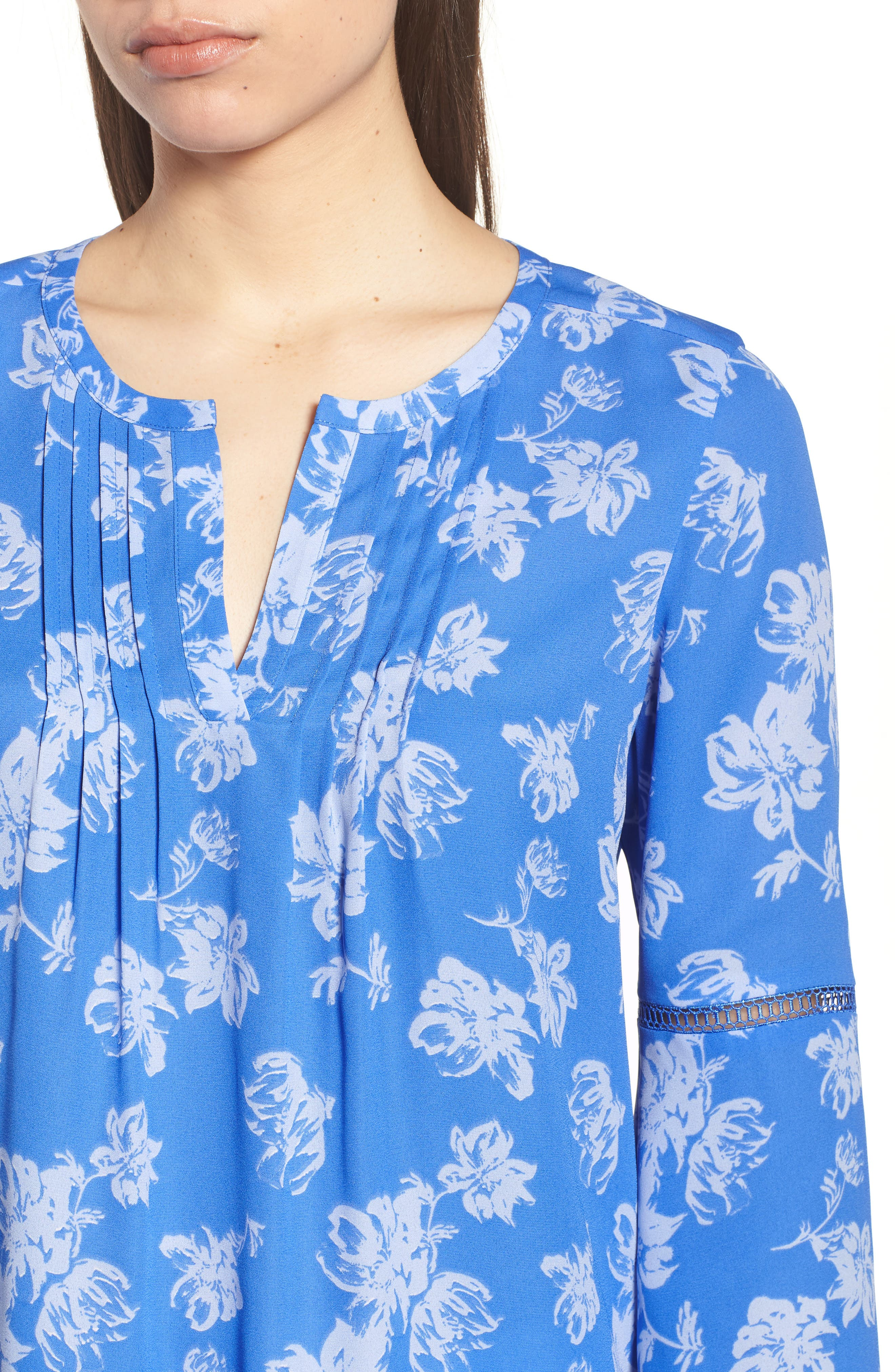 Bell Sleeve Floral Pintuck Blouse,                             Alternate thumbnail 4, color,                             428-Stella Blue