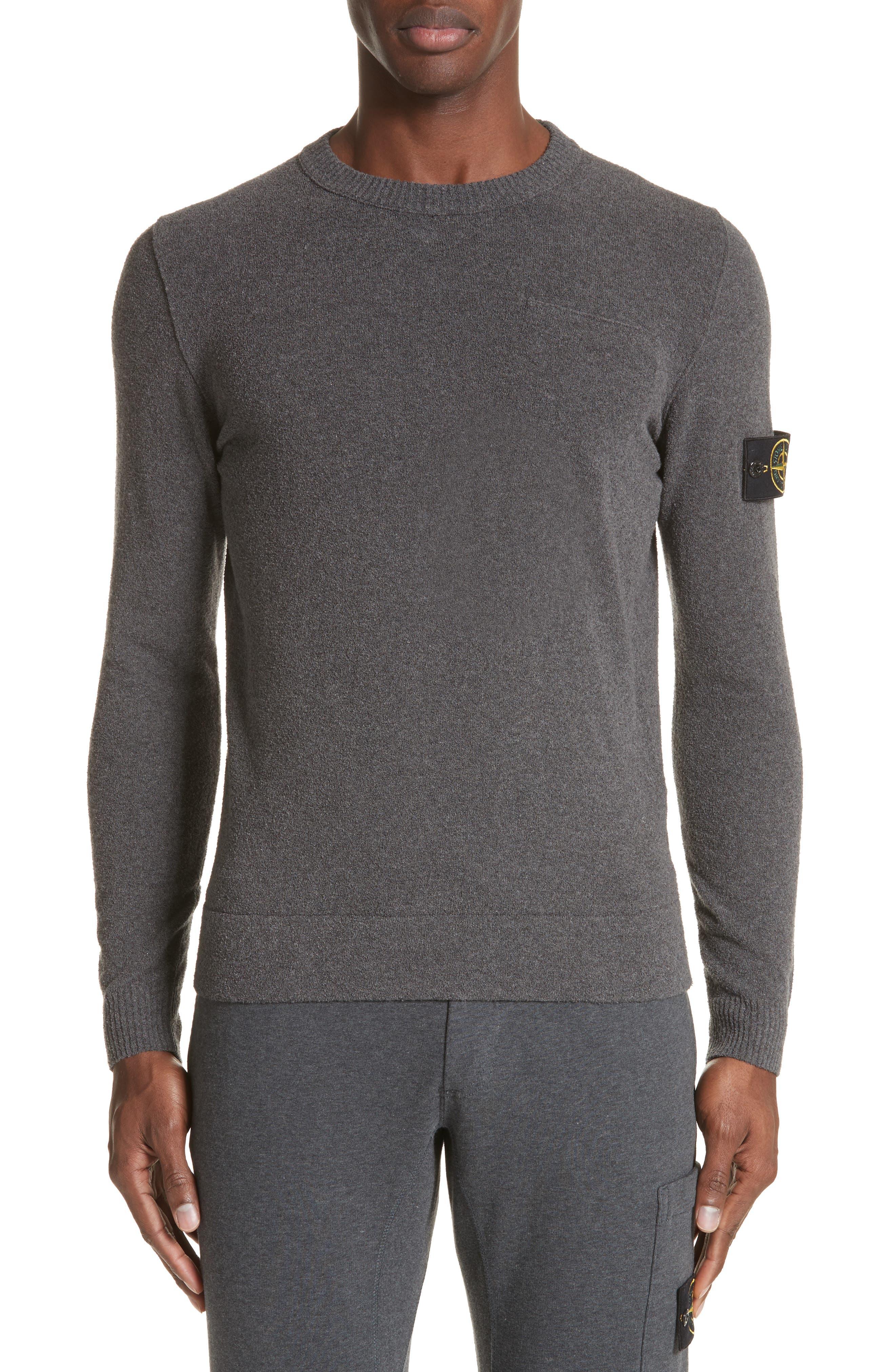 Terry Knit Crewneck Sweatshirt,                         Main,                         color, Grey