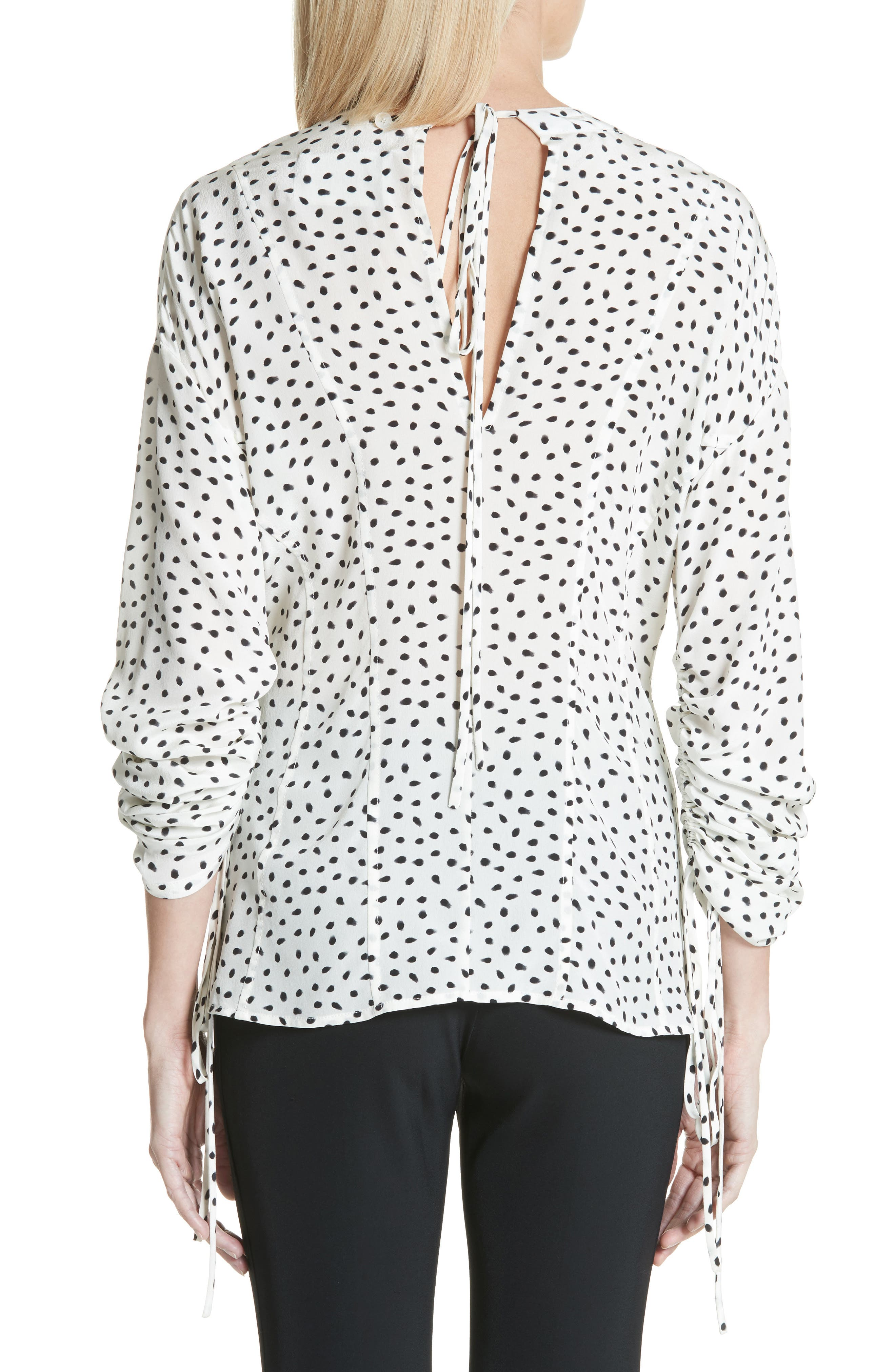 Polka Dot Ruched Sleeve Silk Shirt,                             Alternate thumbnail 2, color,                             Chalk Black