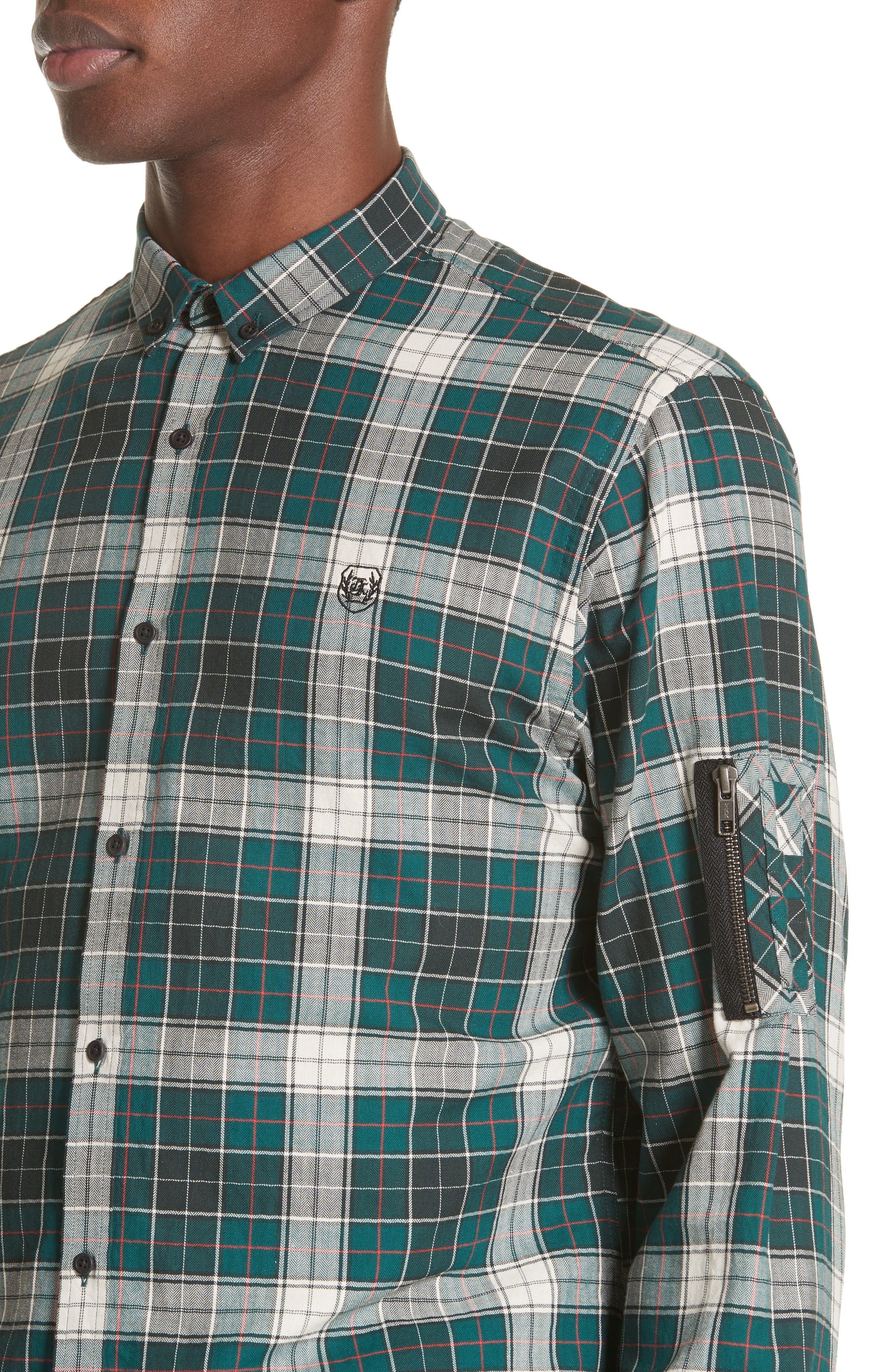 Check Woven Shirt,                             Alternate thumbnail 2, color,                             Green