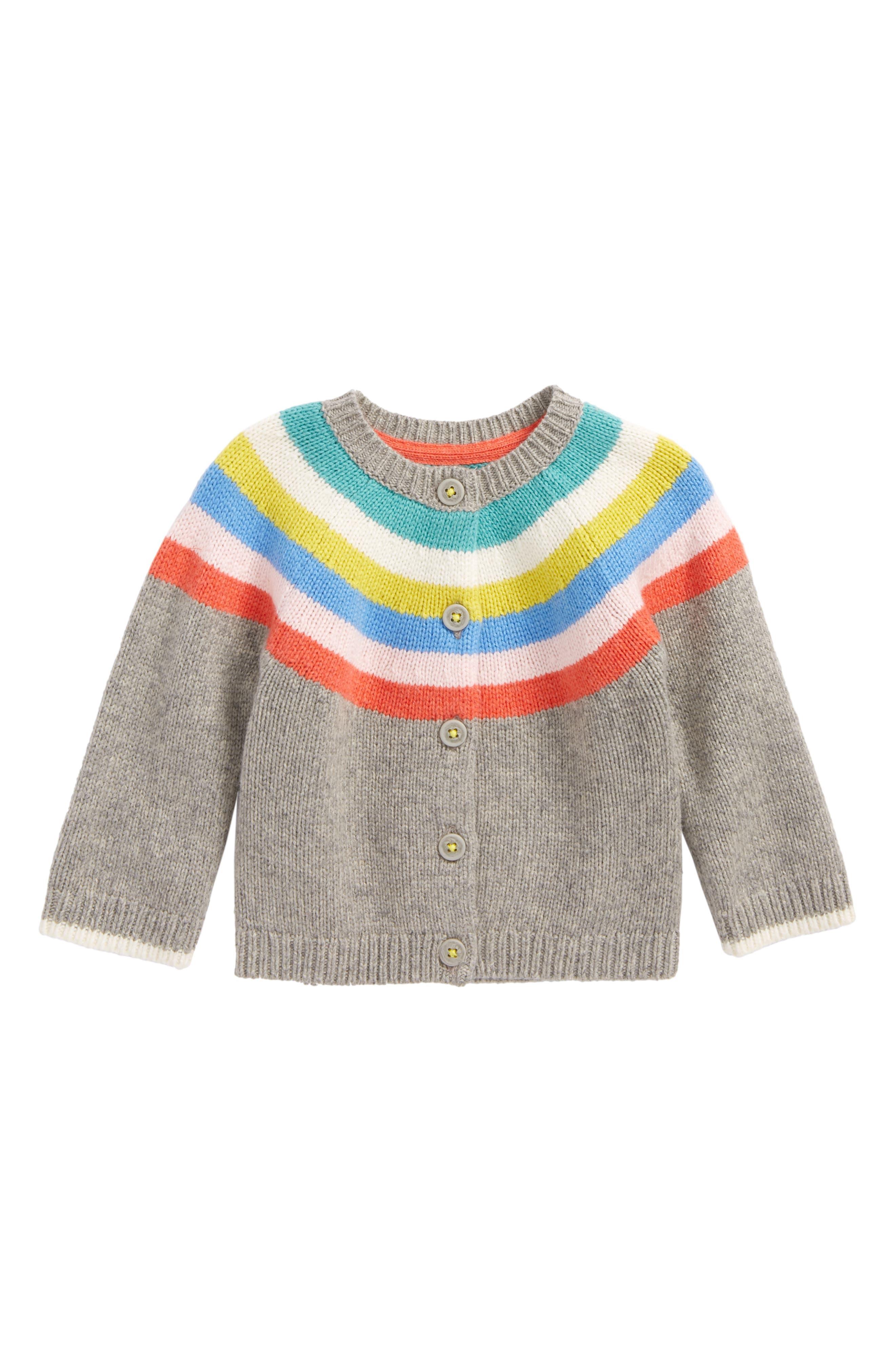 Rainbow Stripe Cardigan,                         Main,                         color, Grey Marl