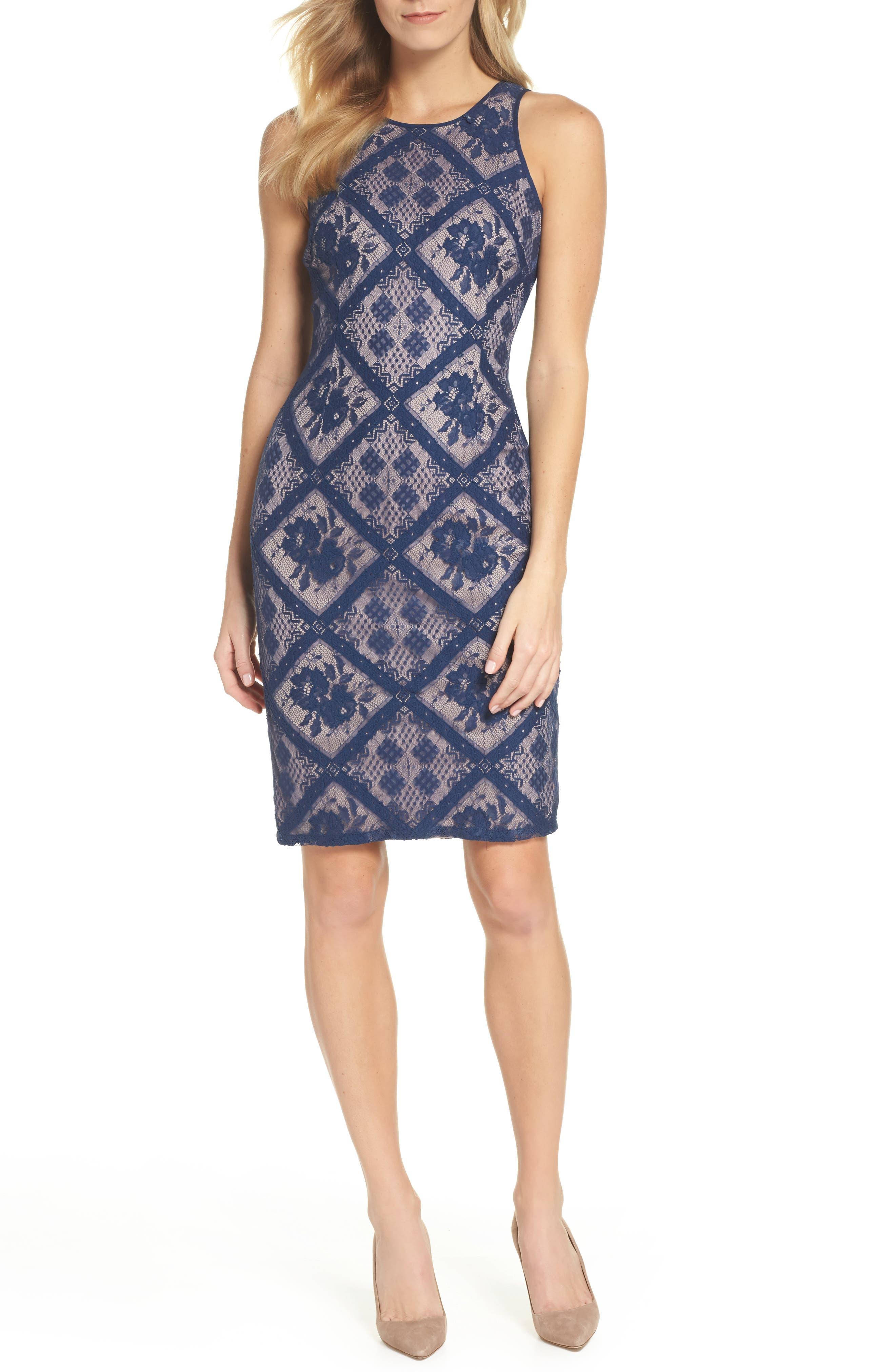 Floral Lace Sheath Dress,                         Main,                         color, Navy Sateen