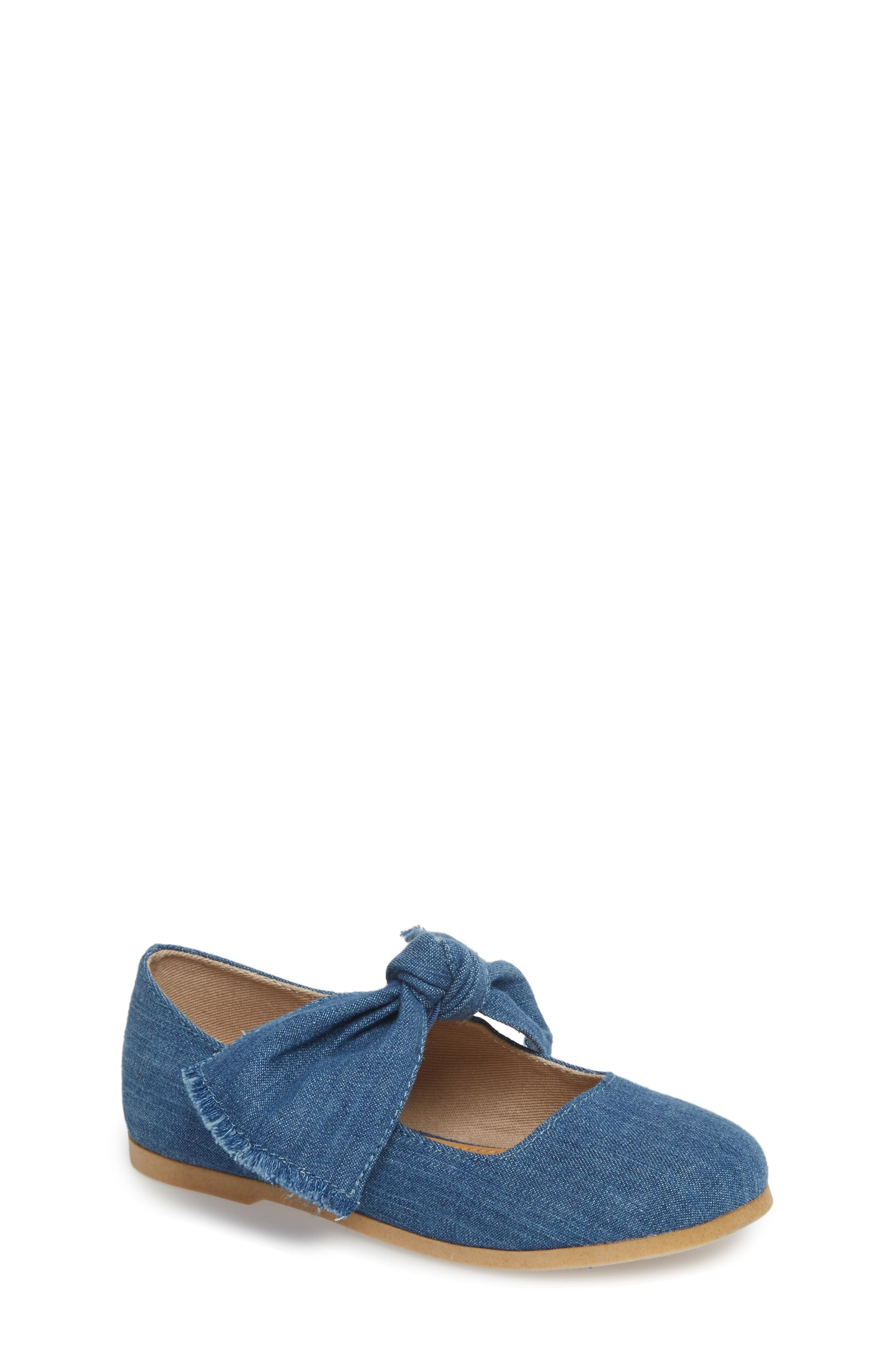Helina Bow Mary Jane Flat,                             Main thumbnail 1, color,                             Chambray Fabric