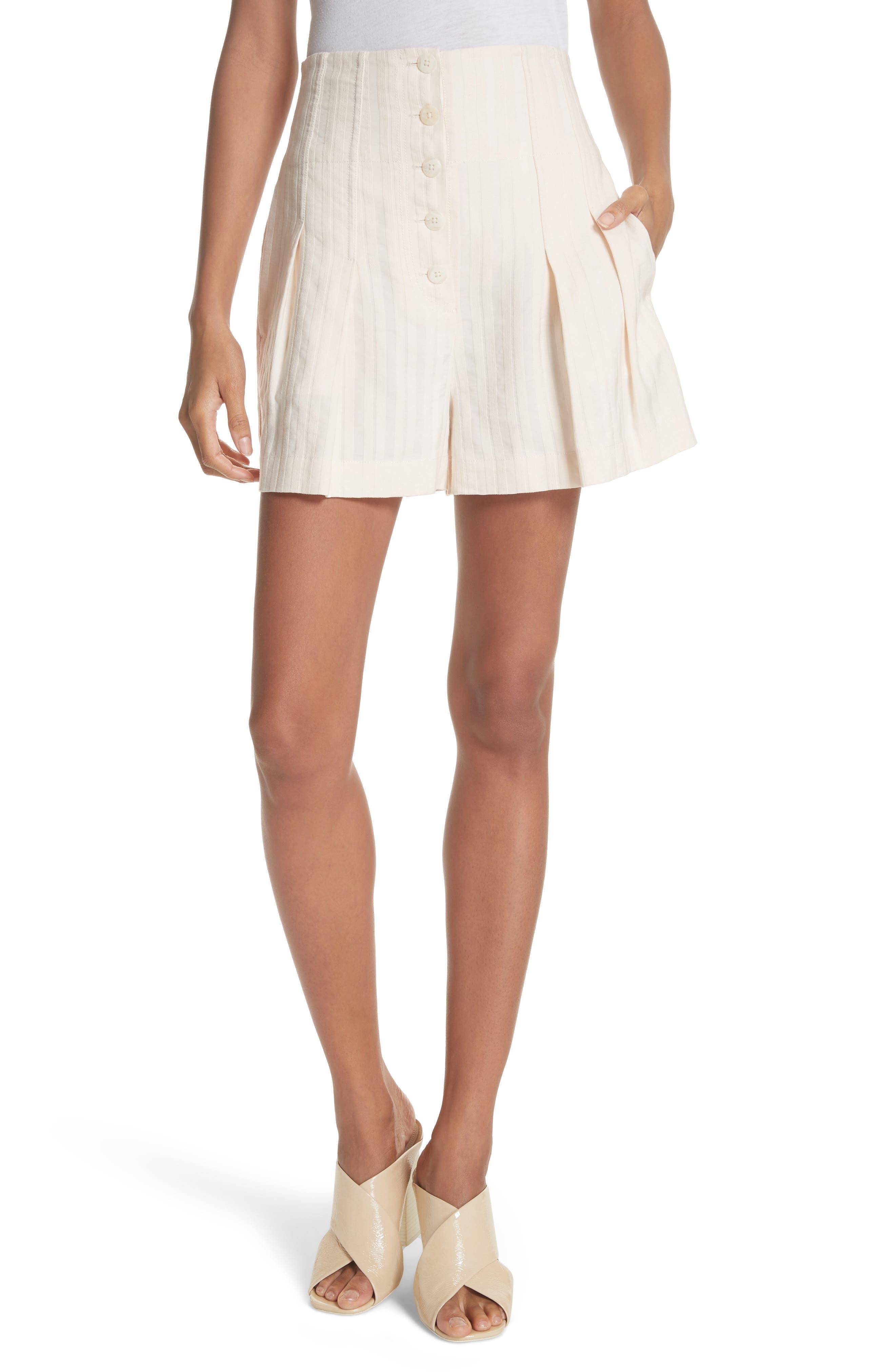 Textured Stripe Shorts,                             Main thumbnail 1, color,                             Creme Brulee