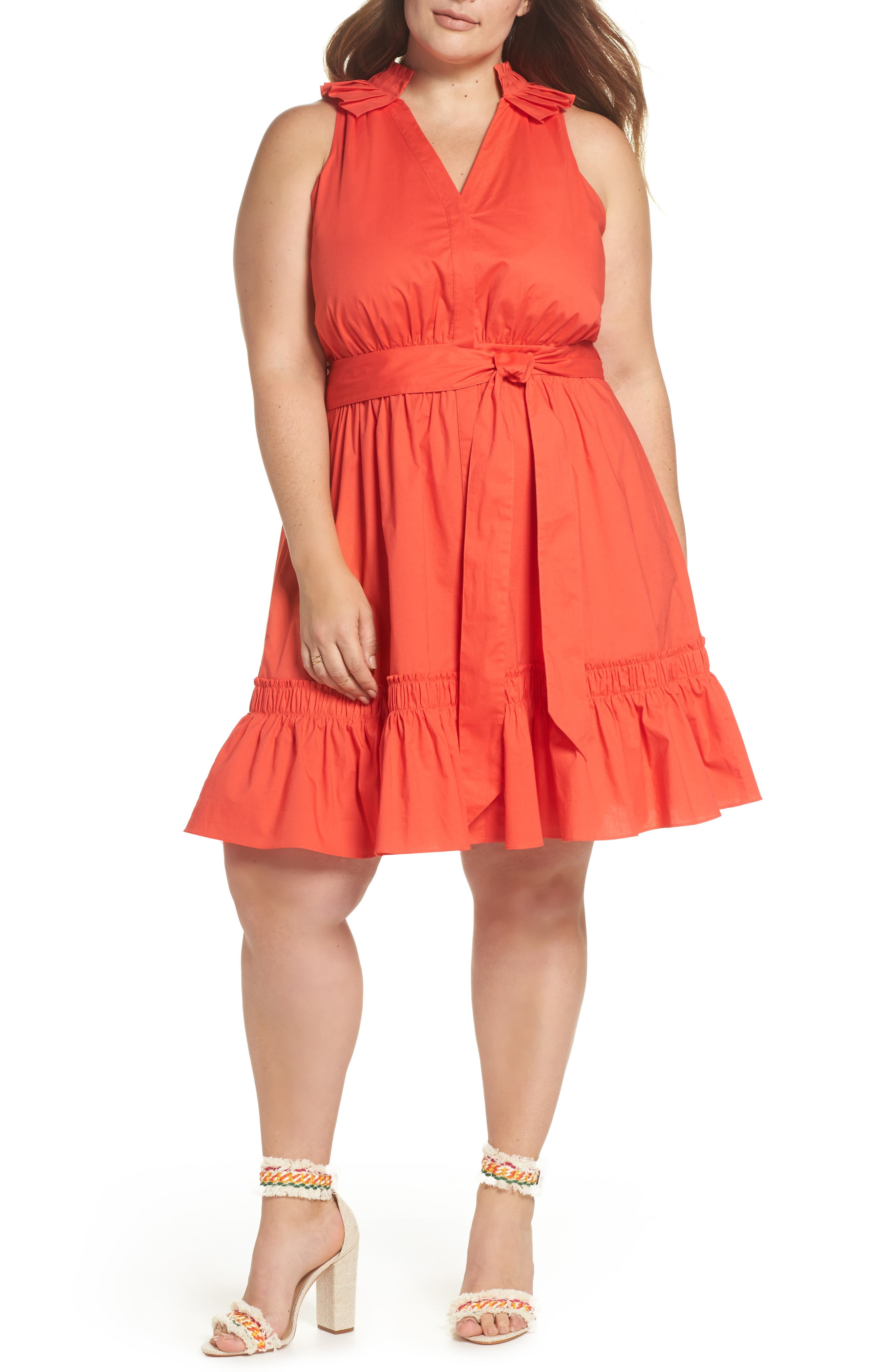 Pleat Collar Fit & Flare Dress,                         Main,                         color, Red Bloom