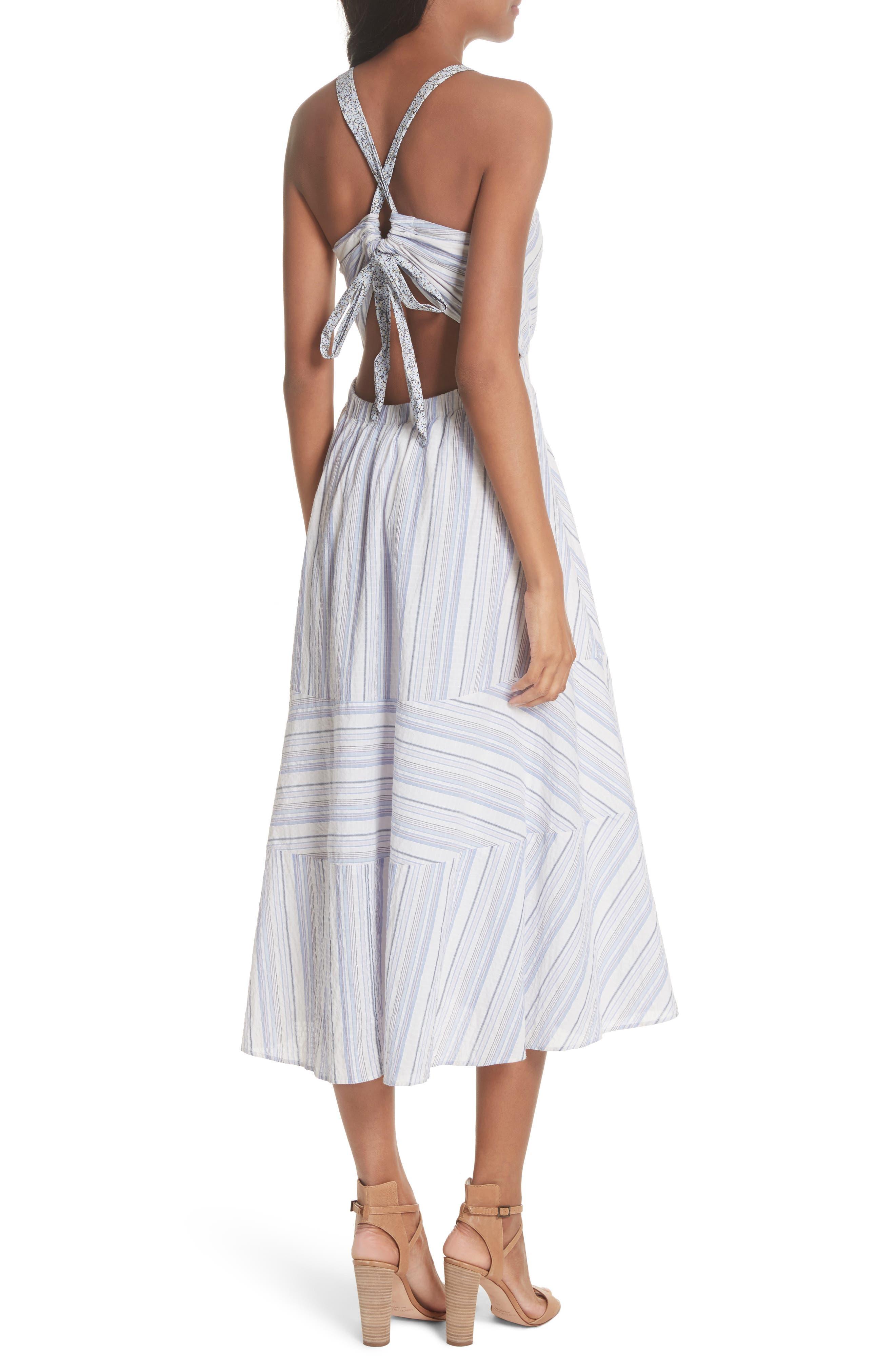 Leila Stripe Midi Dress,                             Alternate thumbnail 2, color,                             Iris Combo