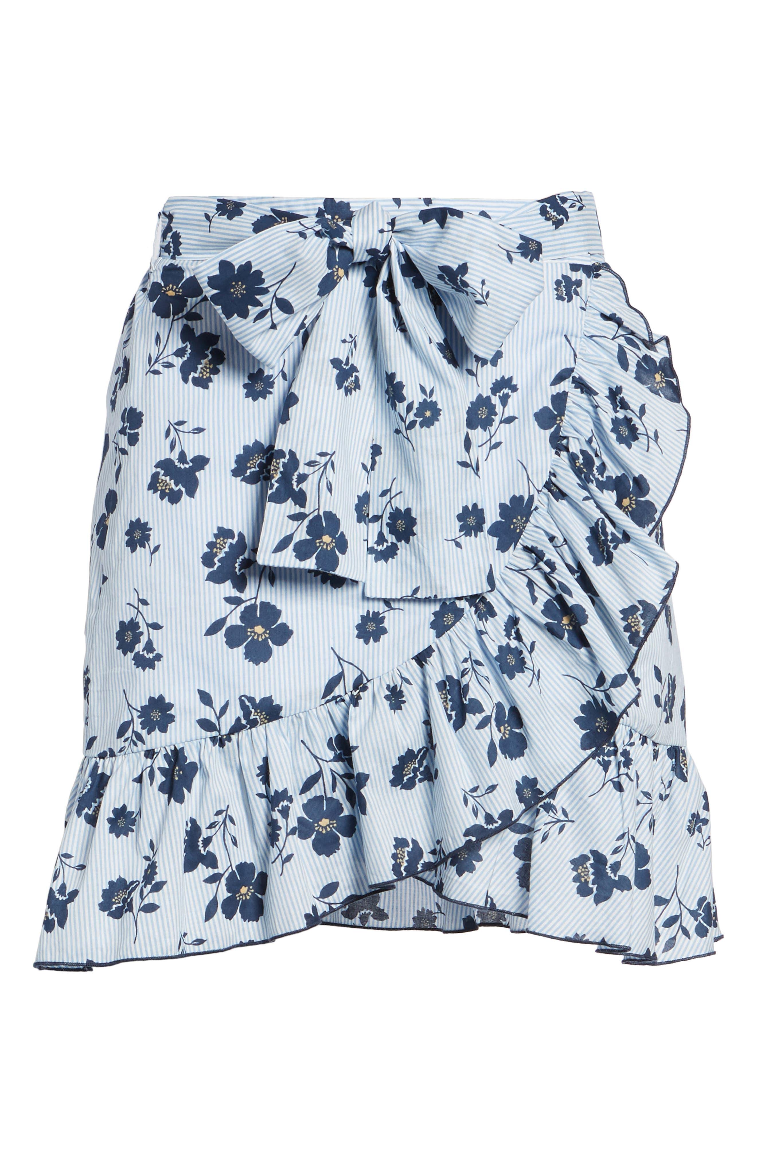 Floral Ruffle Wrap Skirt,                             Alternate thumbnail 7, color,                             Sky Stripe