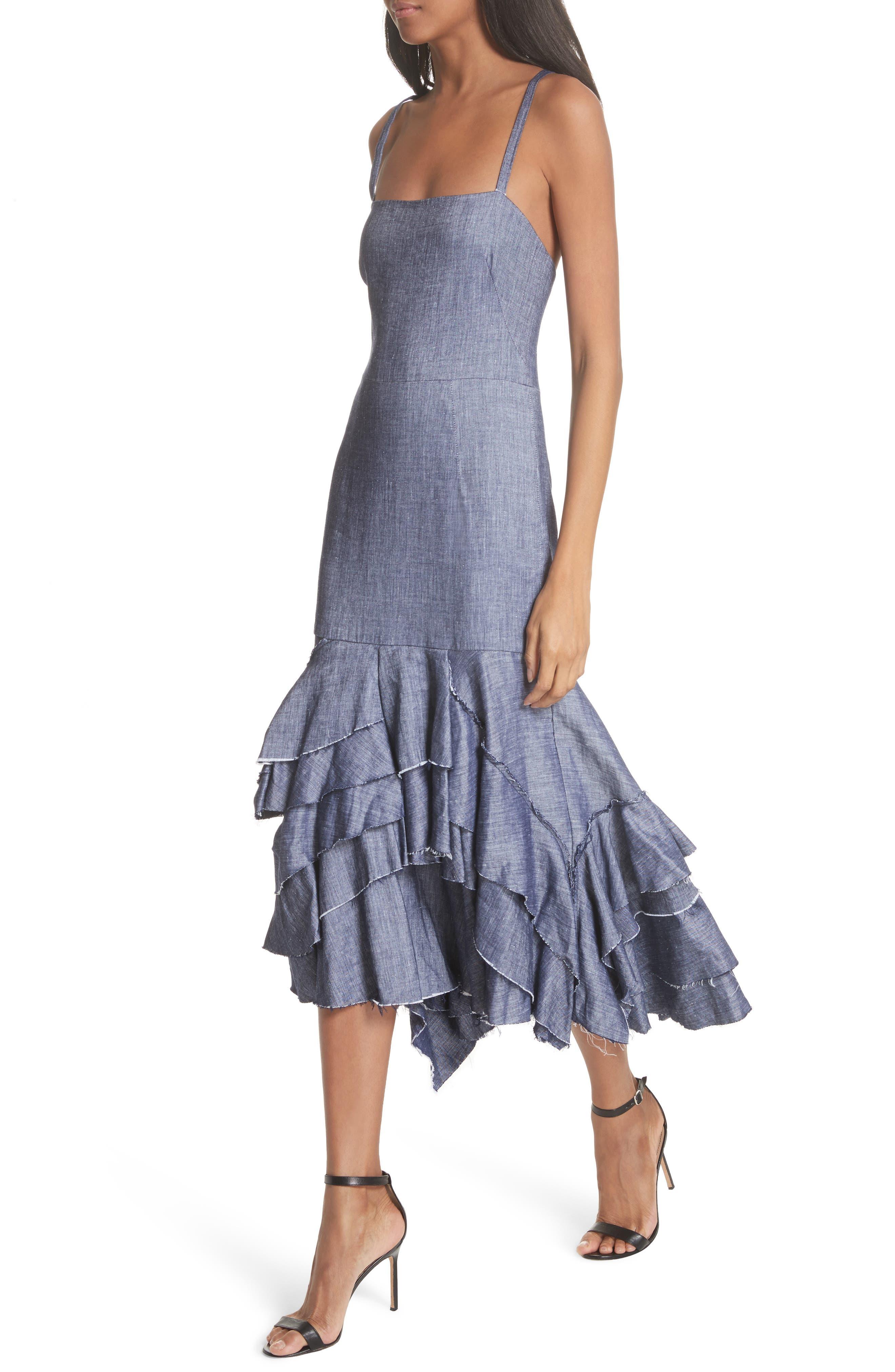 Apron Ruffle Midi Dress,                             Alternate thumbnail 4, color,                             Blue