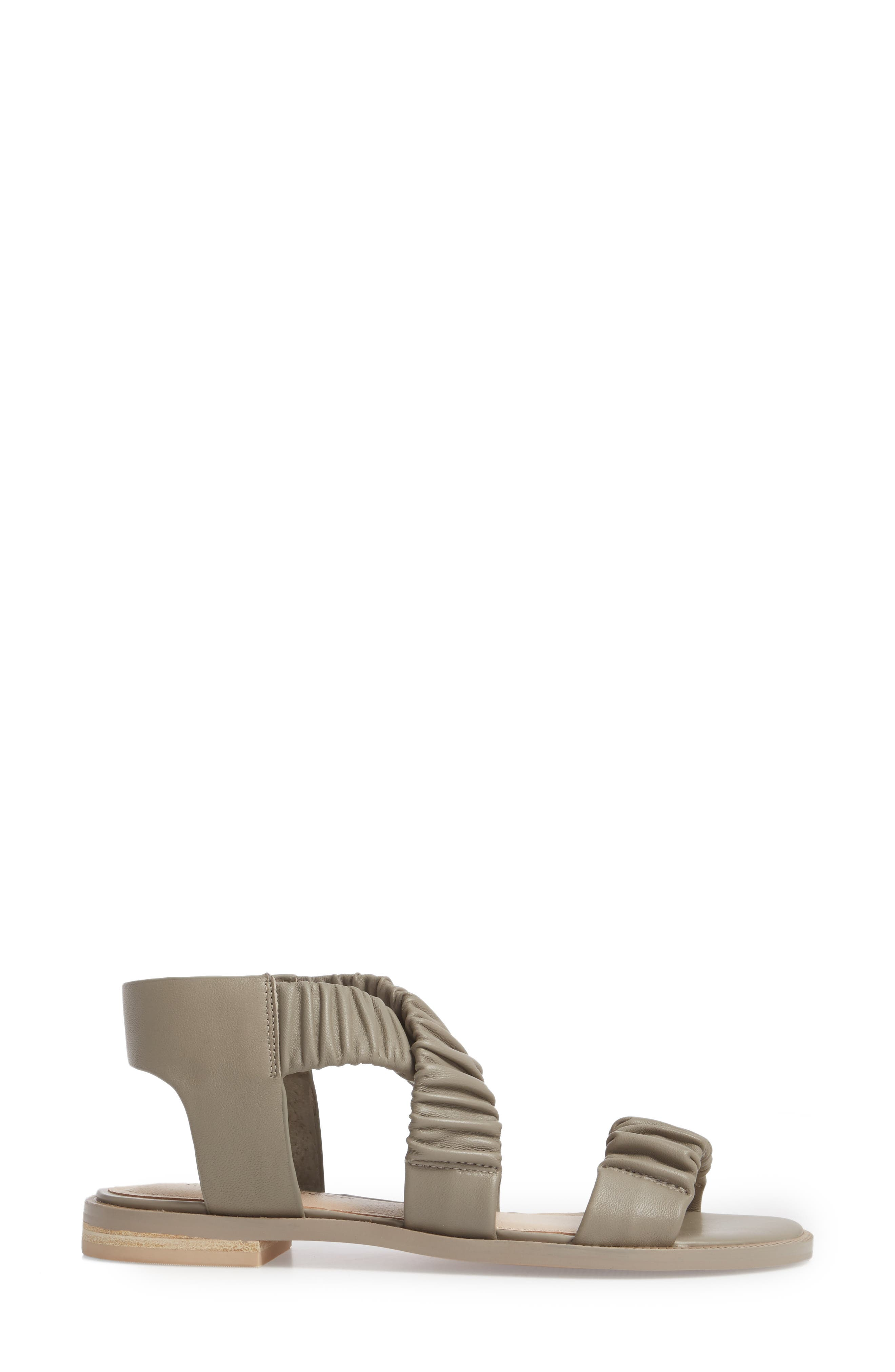 Ryder Pleated Flat Sandal,                             Alternate thumbnail 3, color,                             Clove Leather