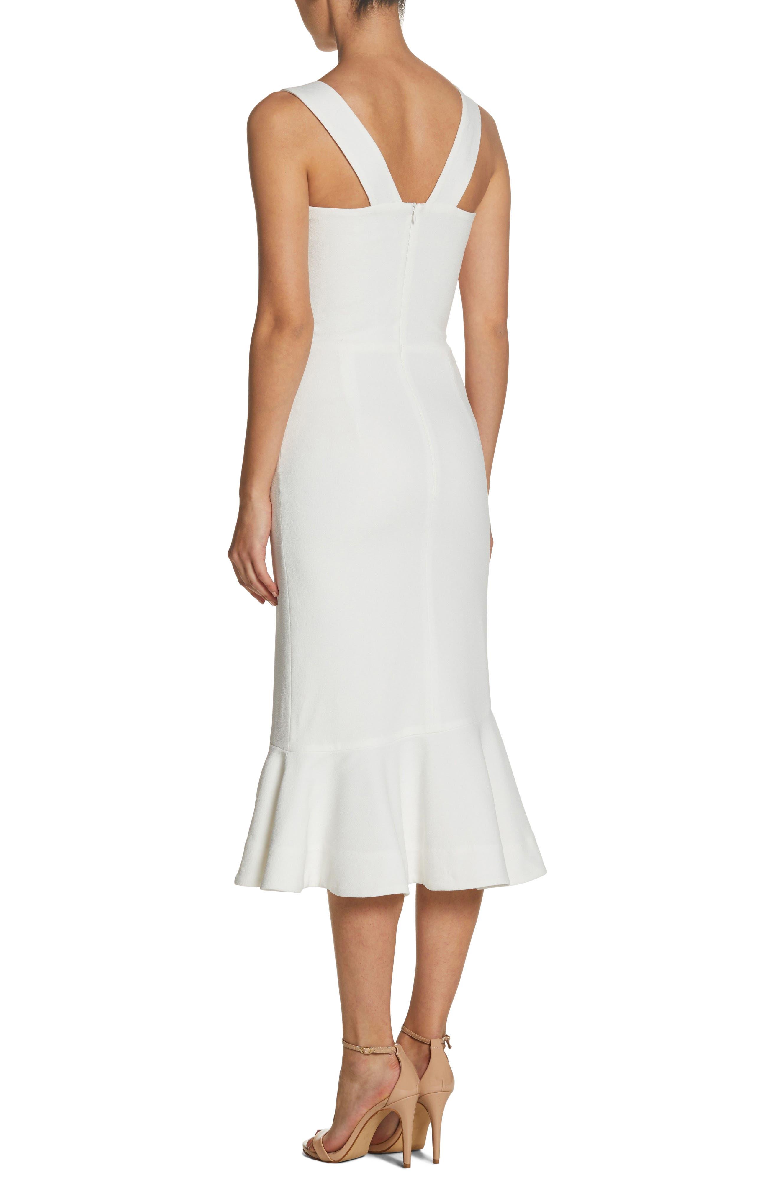Monica Tea Length Trumpet Dress,                             Alternate thumbnail 2, color,                             Off White