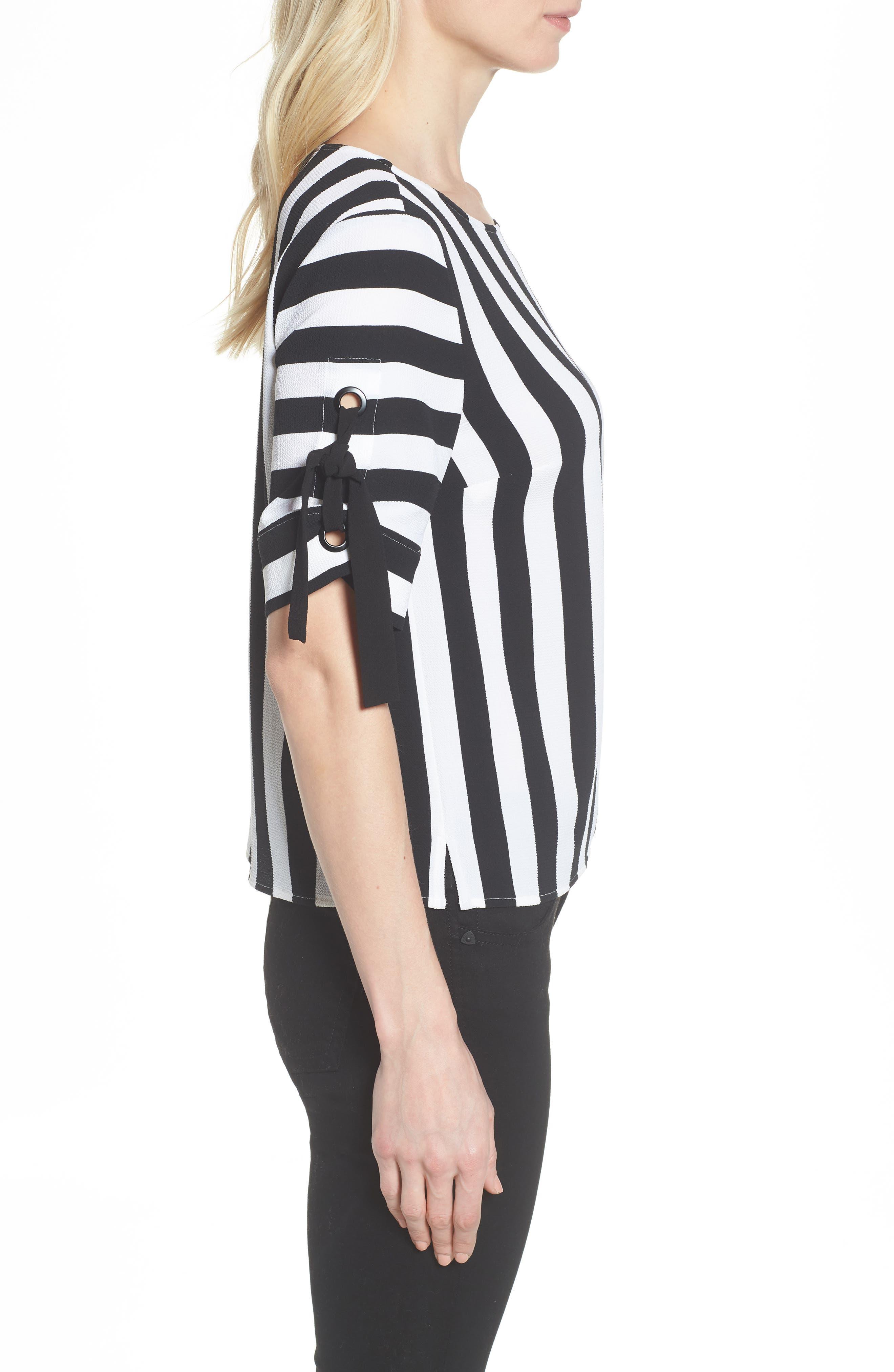 Spectator Stripe Tie Cuff Blouse,                             Alternate thumbnail 4, color,                             Rich Black