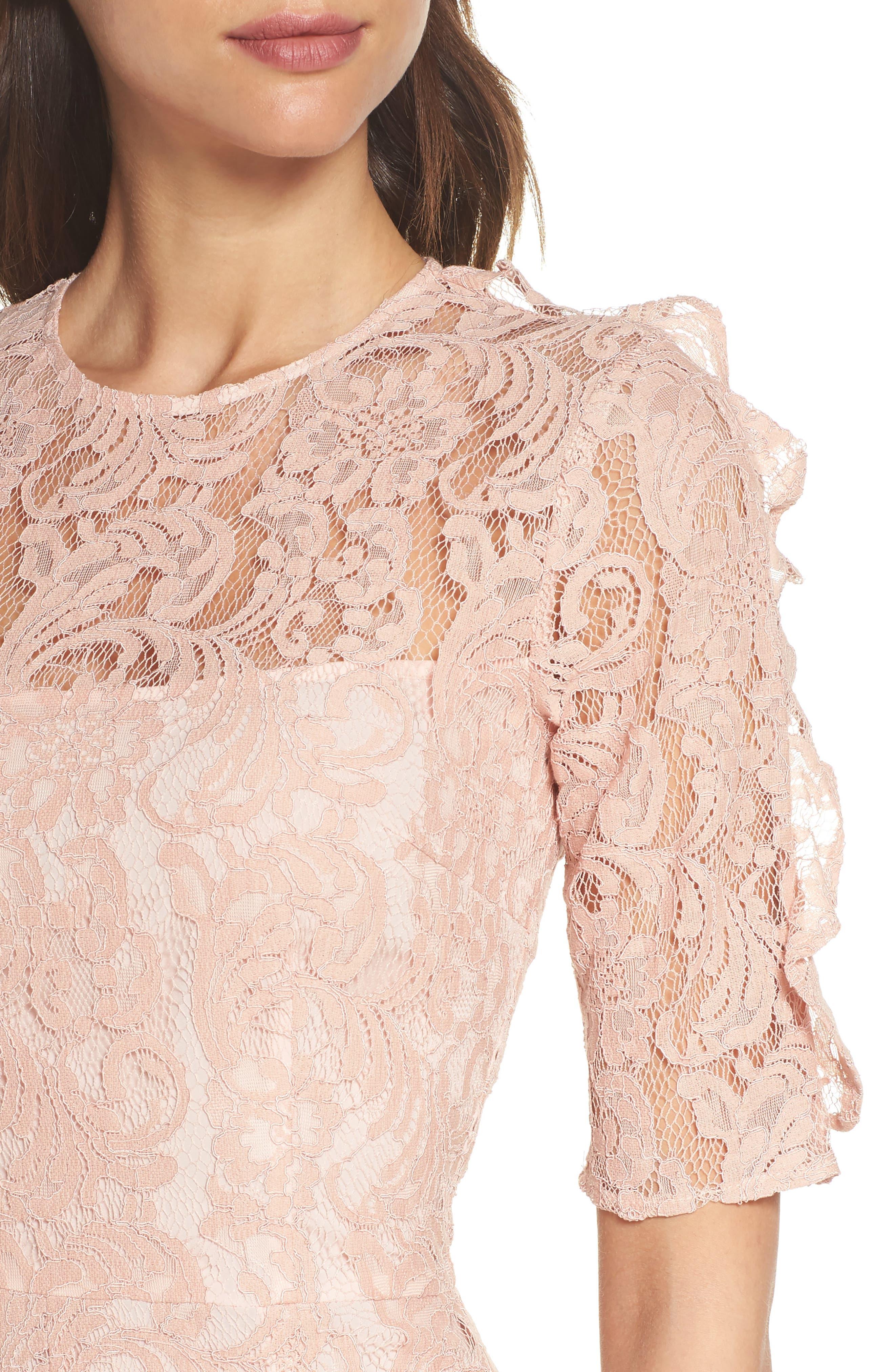 Hushed Dove Lace Dress,                             Alternate thumbnail 4, color,                             Rose Cloud